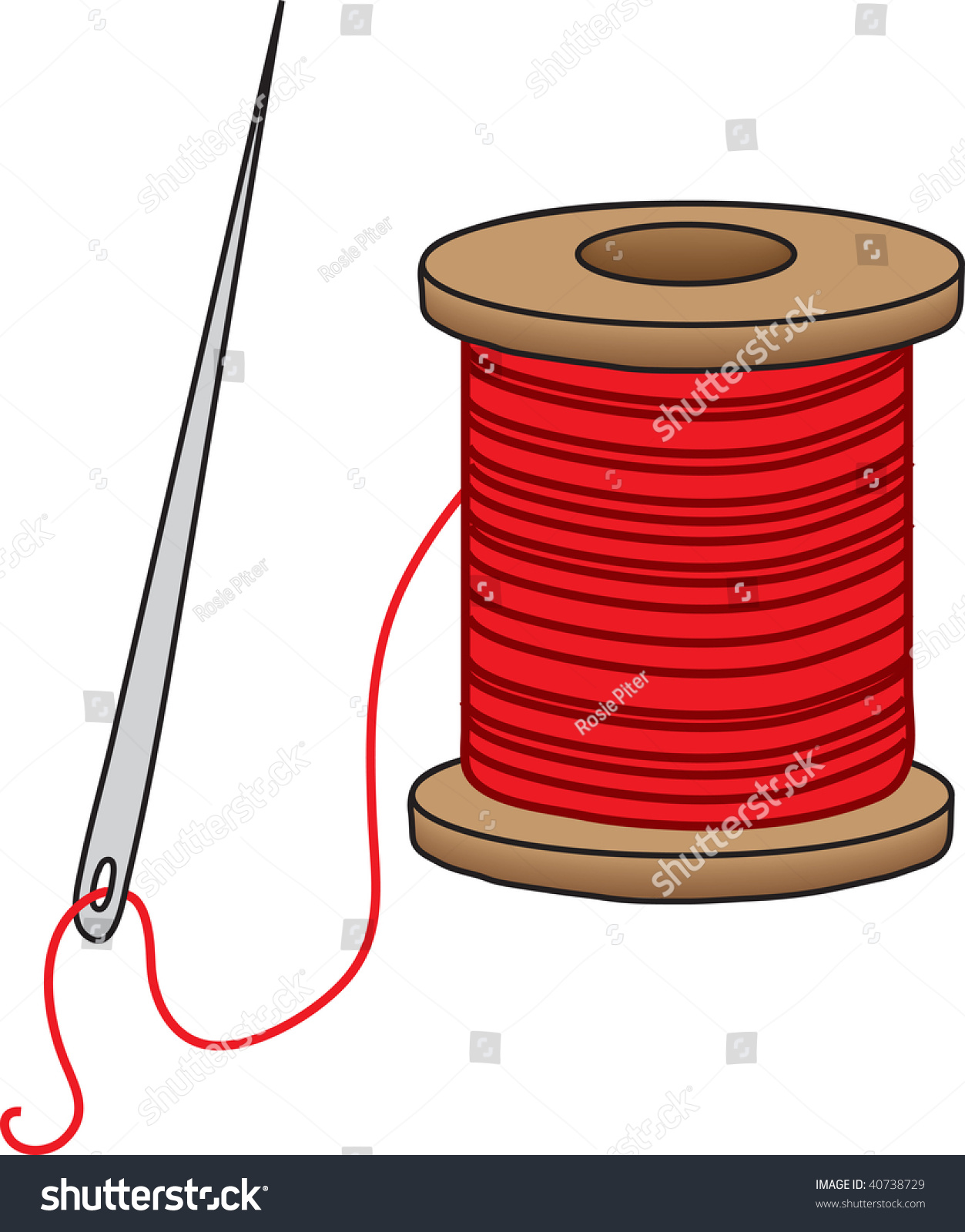 Clipart Illustration Sewing Needle Spool Red Stock Illustration ...