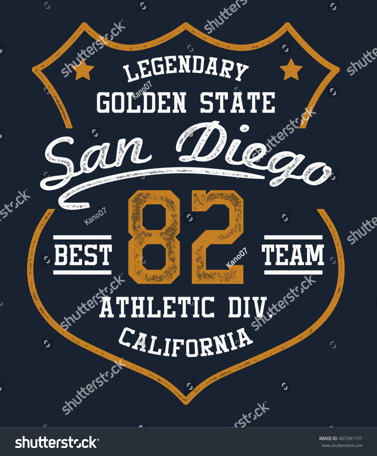 Shirt design san diego - San Diego California College Vector Label And Print Design For T Shirt