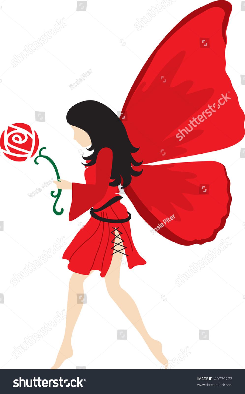 clip art illustration red fairy black stock illustration 40739272