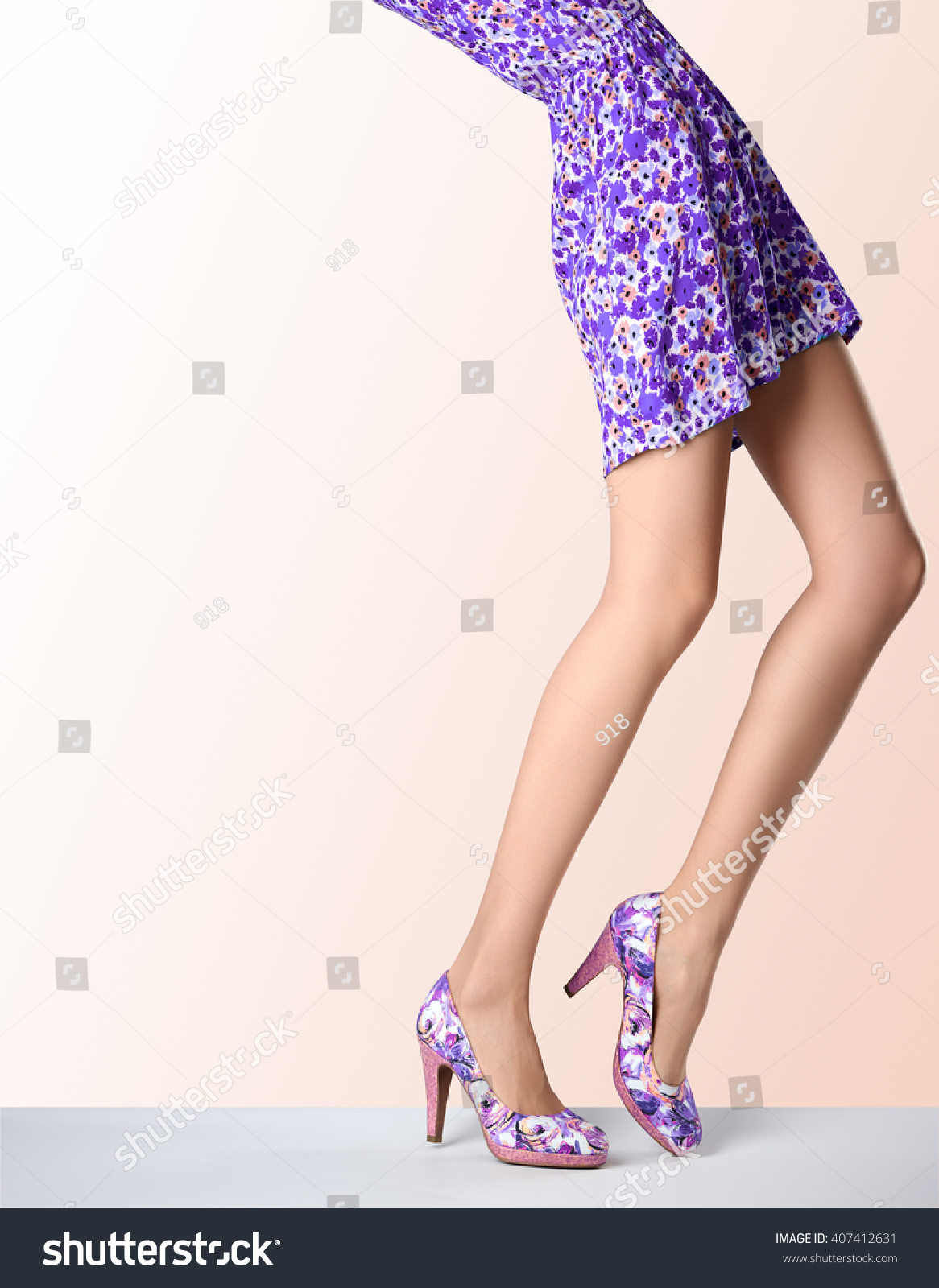 Woman Fashion Dress High Heels Female Stock Photo 407412631