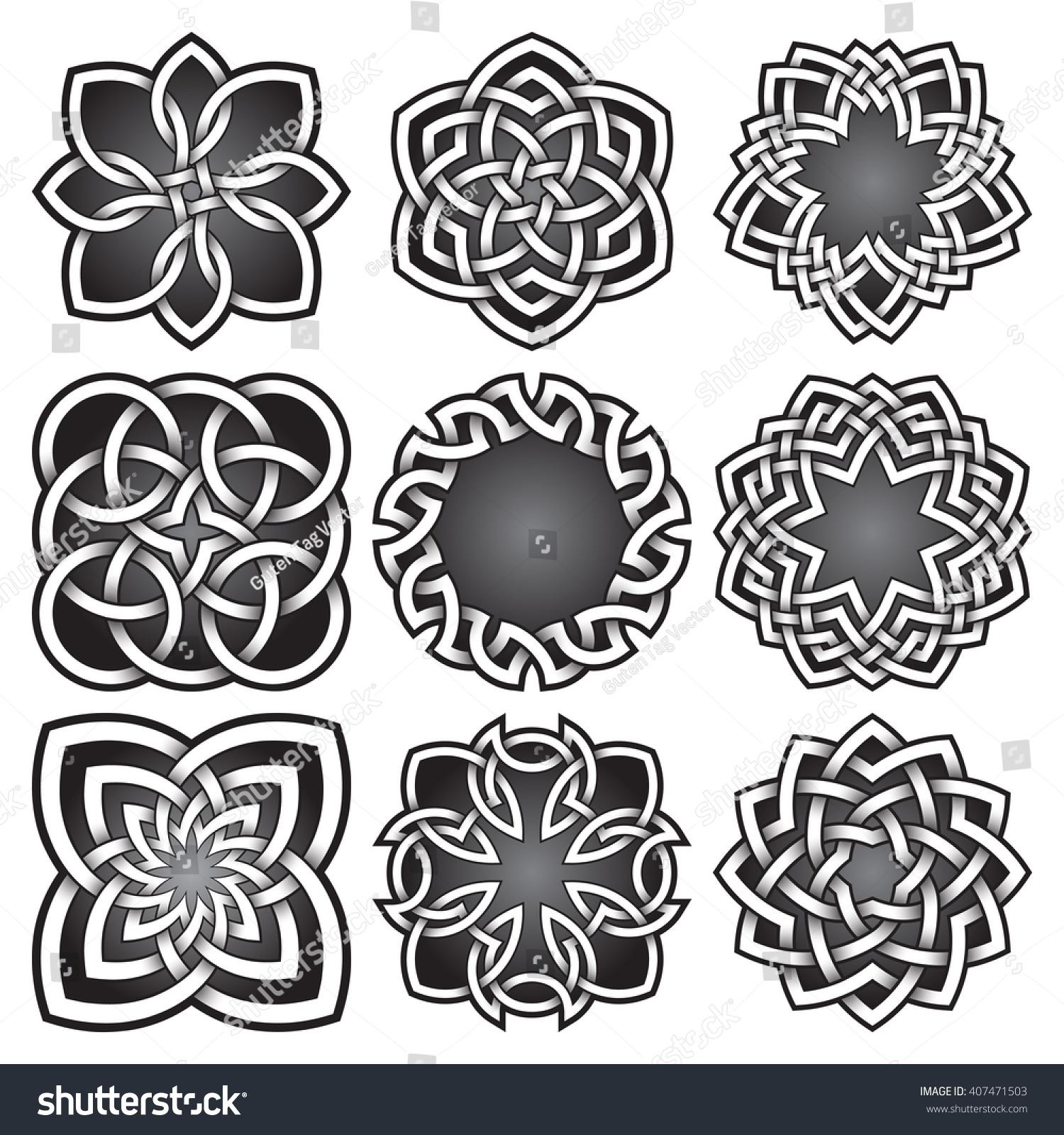 Set Bitmap Logo Symbols Celtic Knots Stock Illustration 407471503