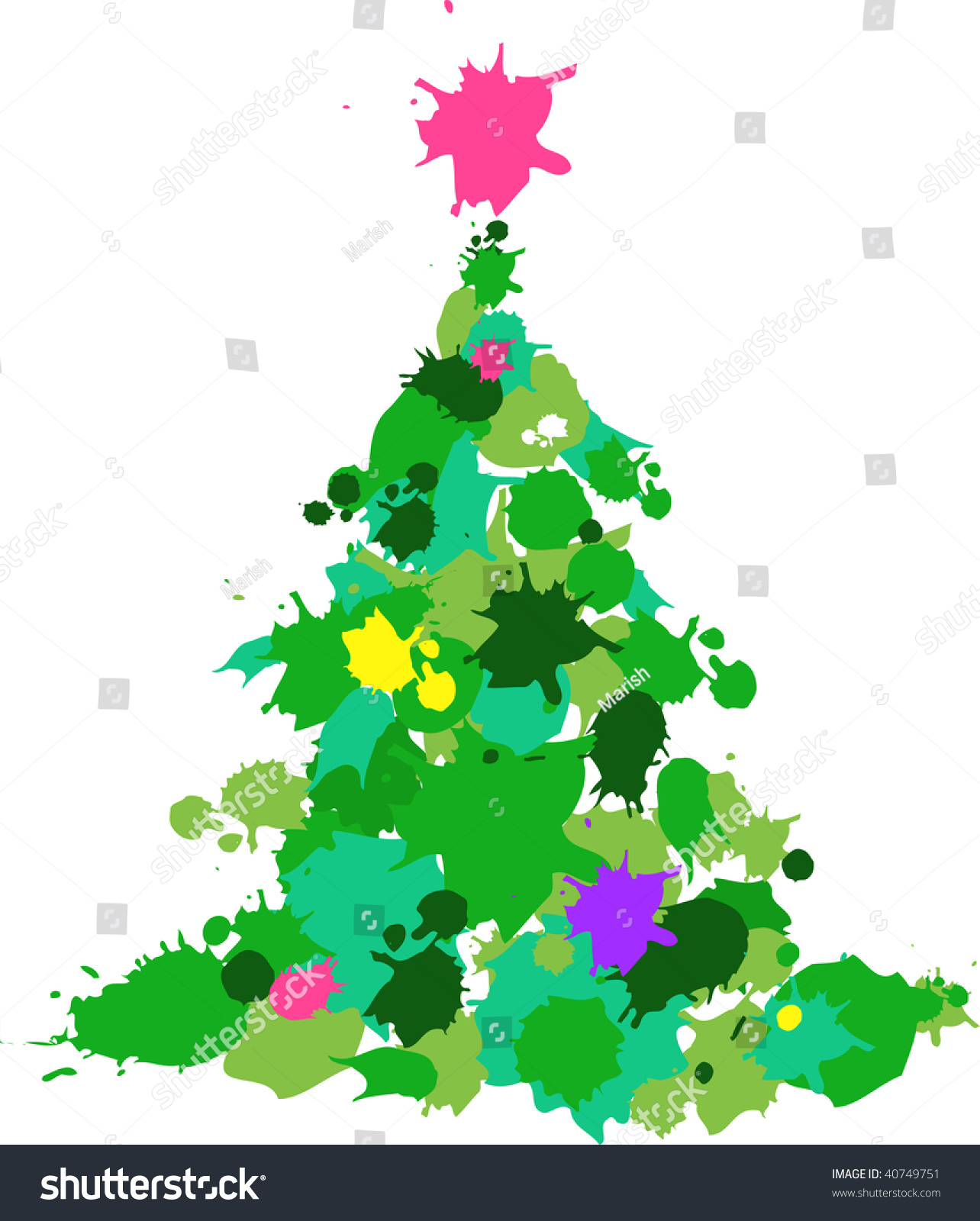 Christmas Tree Made Color Slashes Stock Vector 40749751 - Shutterstock