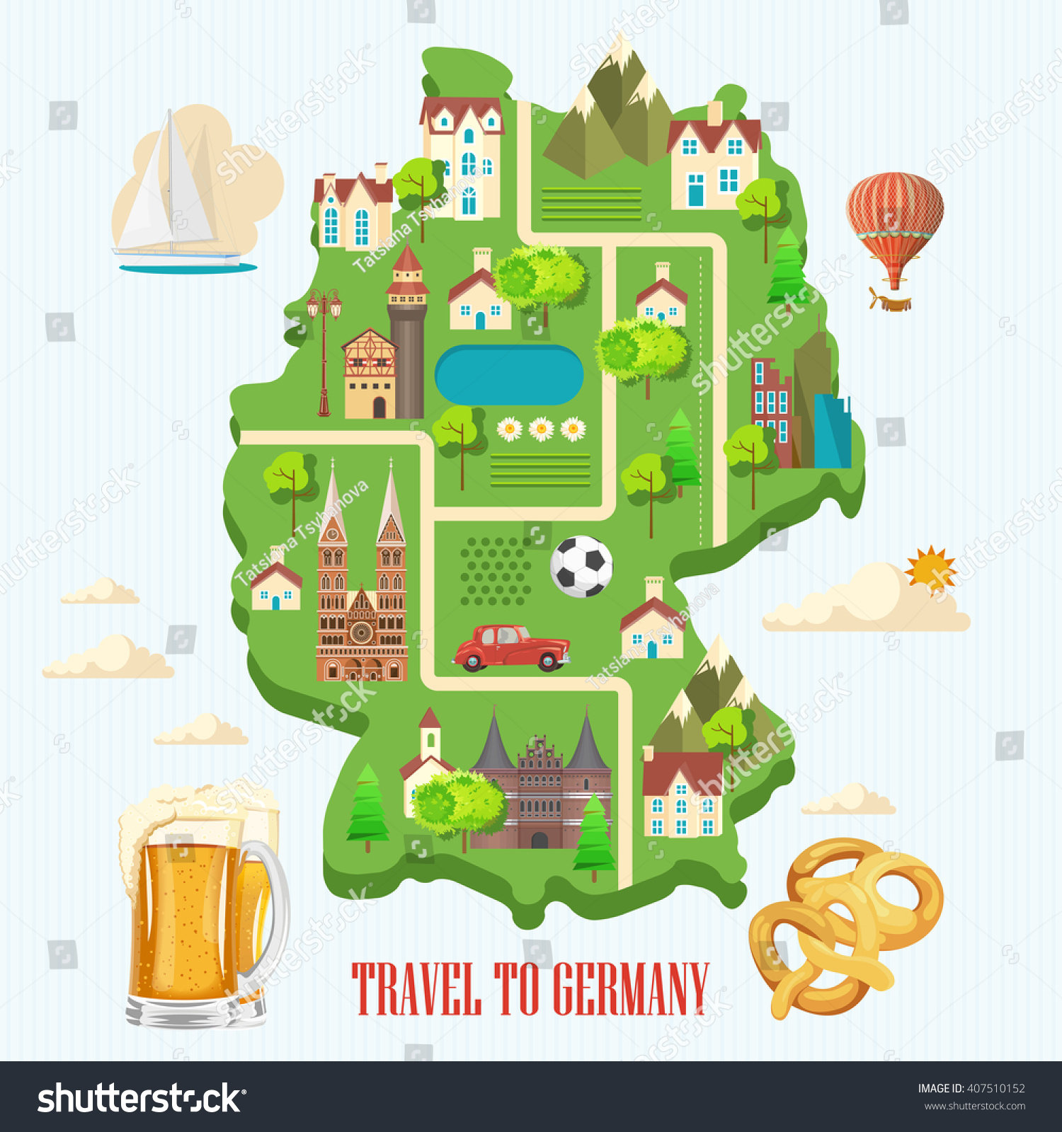 I Want To Visit Germany In German: Germany Travel Poster. Trip Architecture Concept