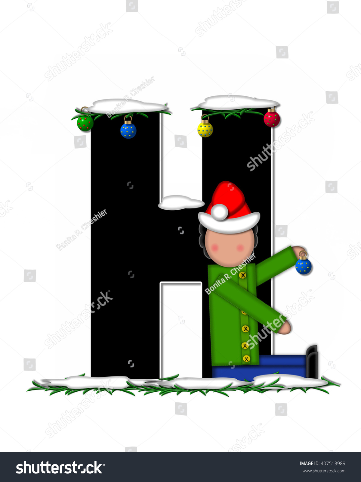 the letter h in the alphabet set children christmas ornaments is decorated