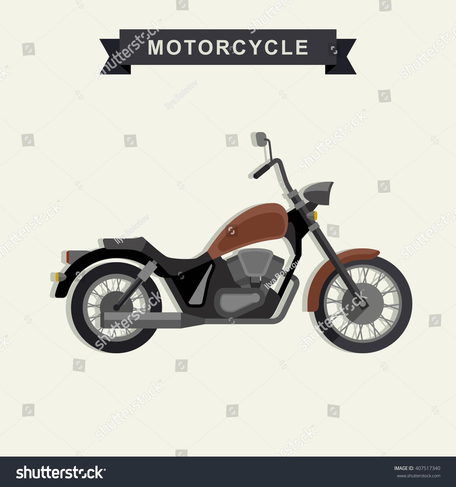 Chopper Motorcycle Flat Style Simple Illustration Stock Illustration ...
