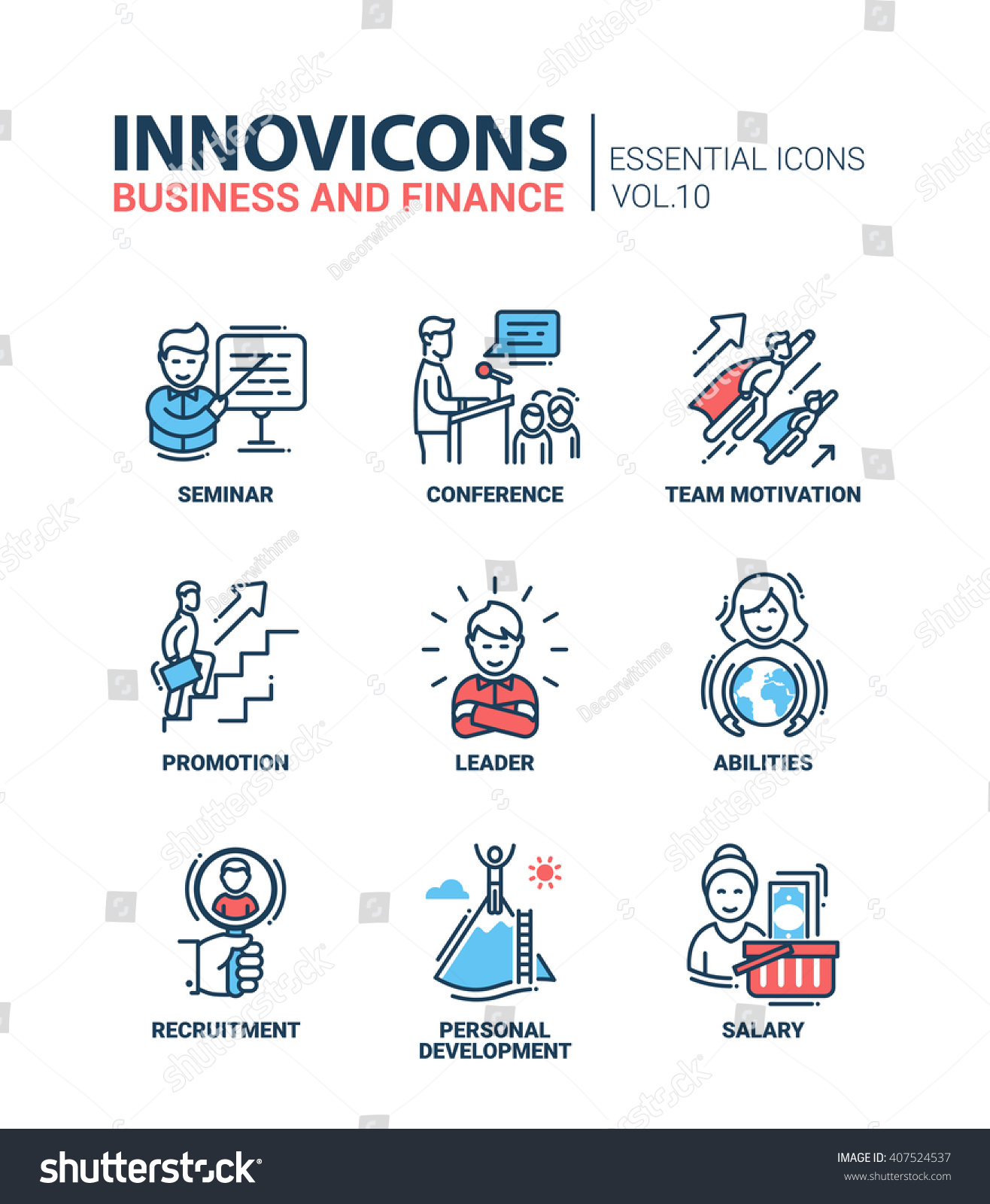Business Finance: Modern Vector Business Finance Icons Collection Stock