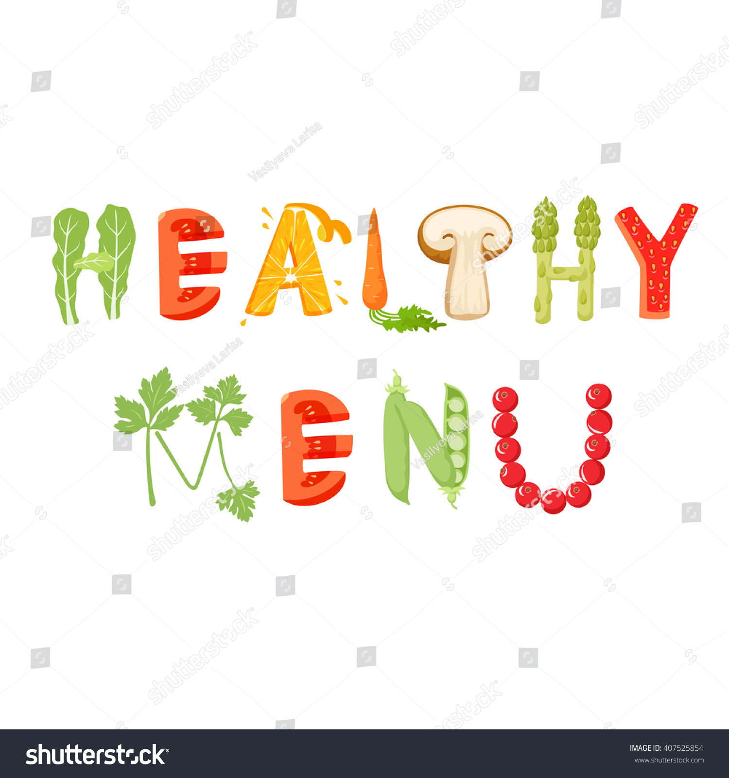 Healthy Menu Vegetables Letter Healthy Food Stock Photo (Photo ...