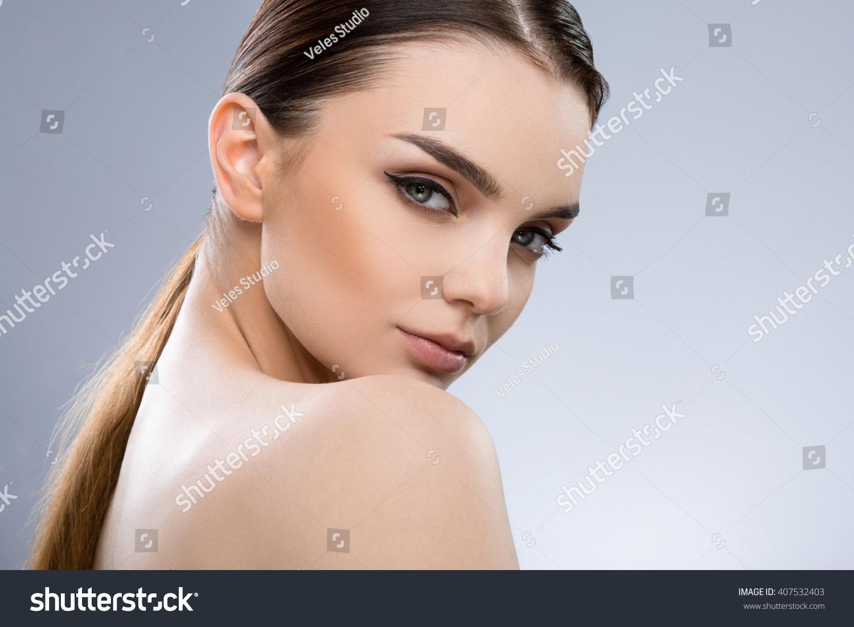 Lovely Girl Dark Brown Hair Fixed Stock Photo 407532403 - Shutterstock-4155