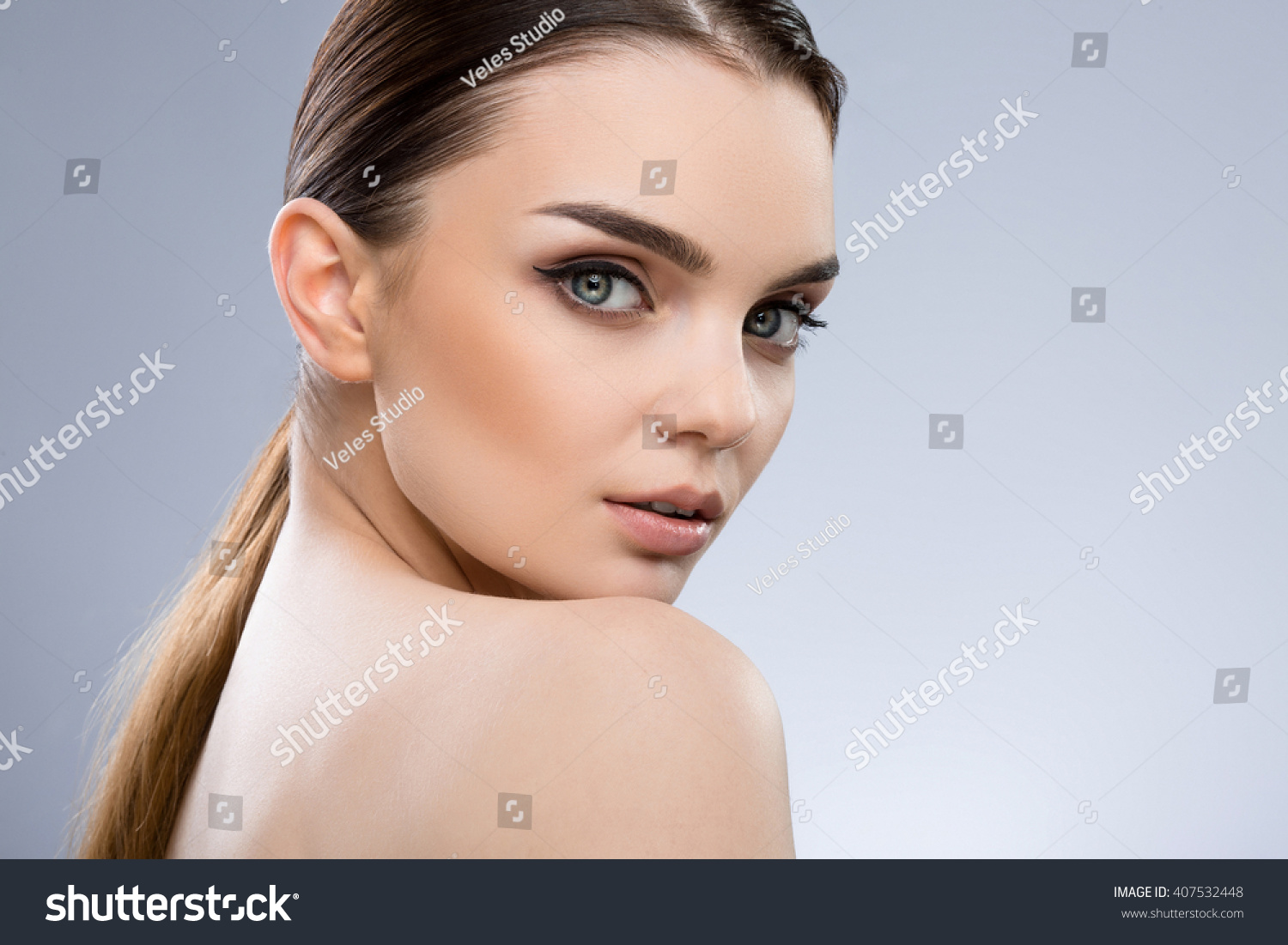 Attractive Girl Dark Brown Hair Fixed Stock Photo Edit Now