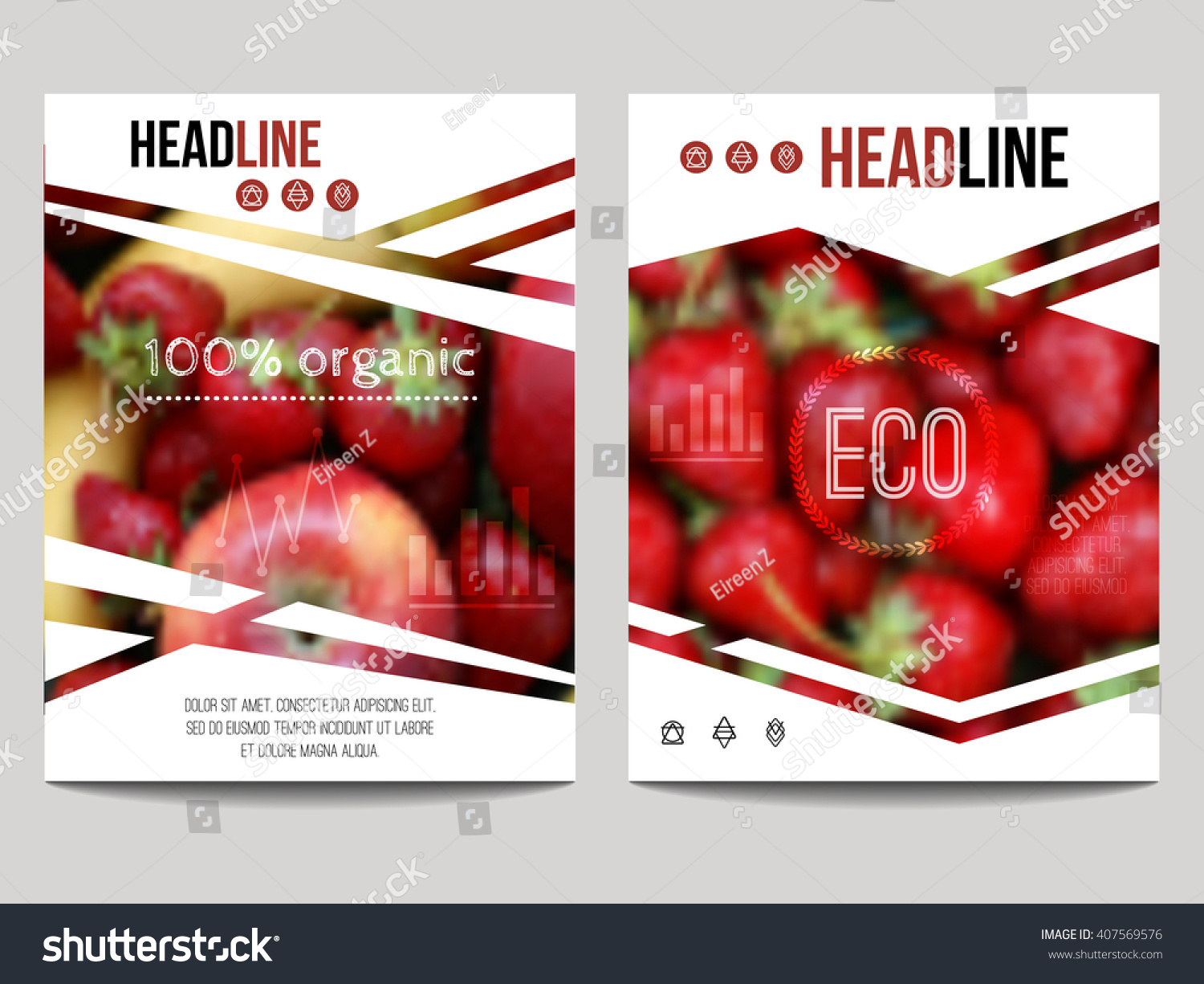 Food Book Cover Vector ~ Vector brochure design template blur background stock