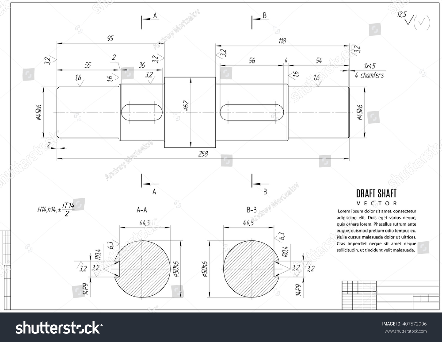 technical drawing shaft construction draft horizontal stock vector