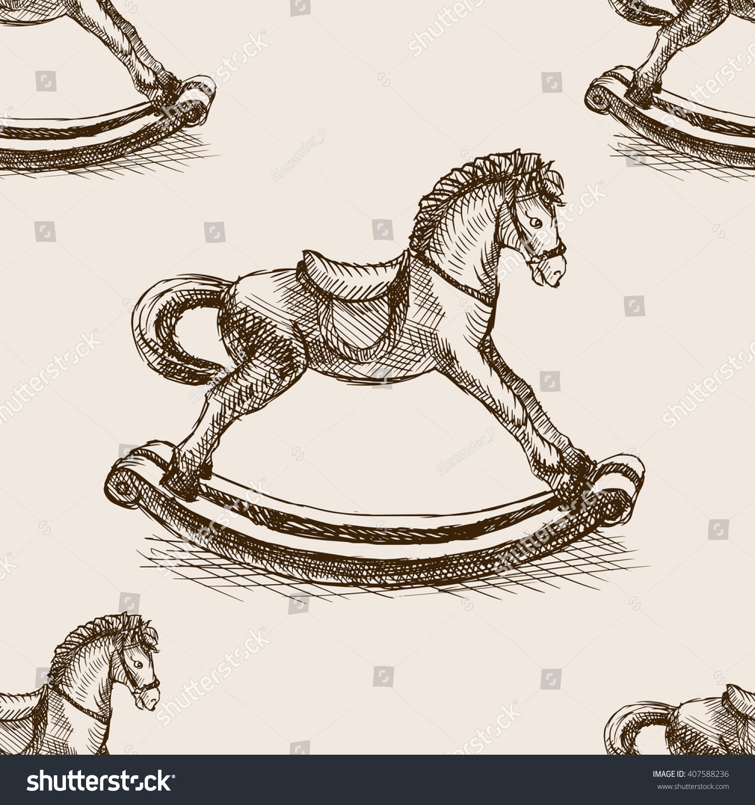 Vintage Rocking Horse Toy Sketch Style Stock Vector Royalty Free 407588236