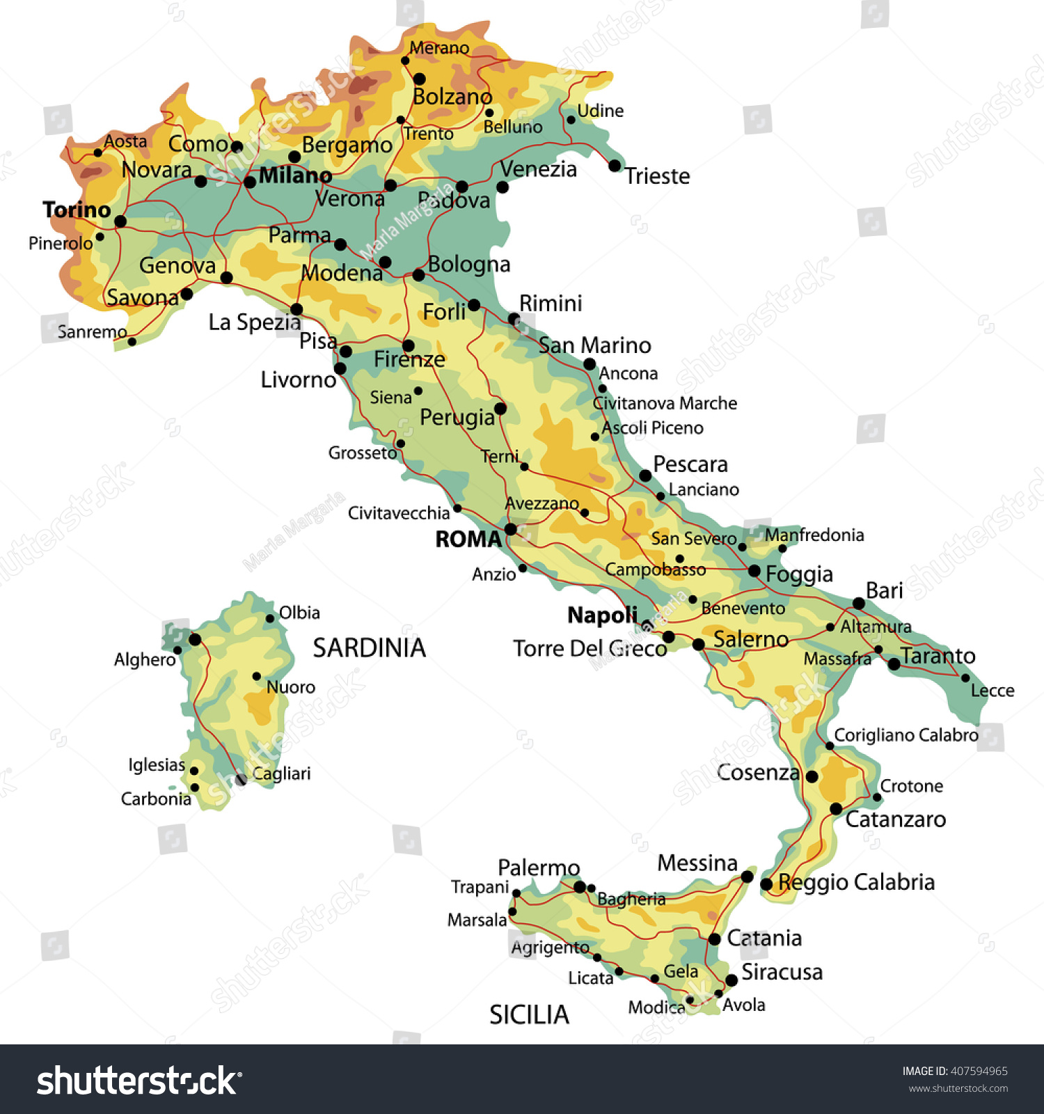 Detailed Map Italy Relief Cities Roads Stock Vector 407594965