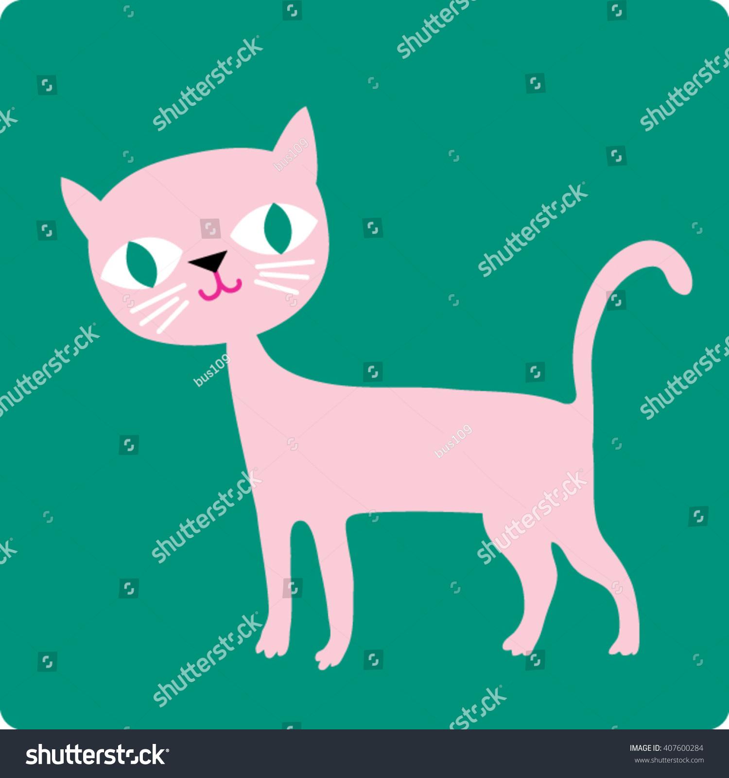 Cute Kitten Cartoon Pink Cat Vector Stock Vector