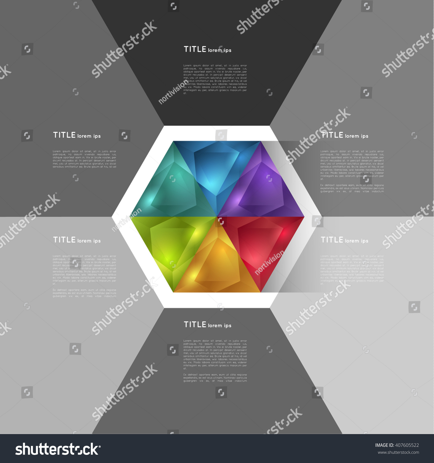 Abstract Infographic Template Colorful Hexagon Crystal Stock Vector