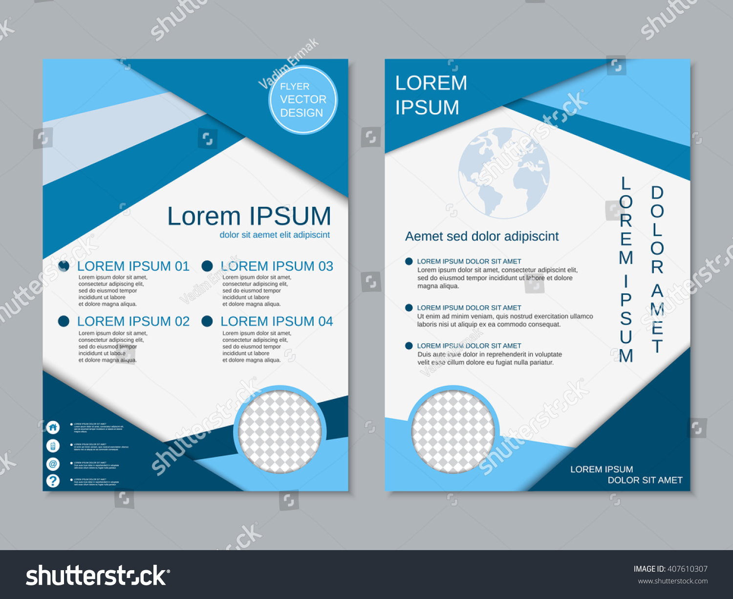 royalty free modern two sided flyer vector design 407610307