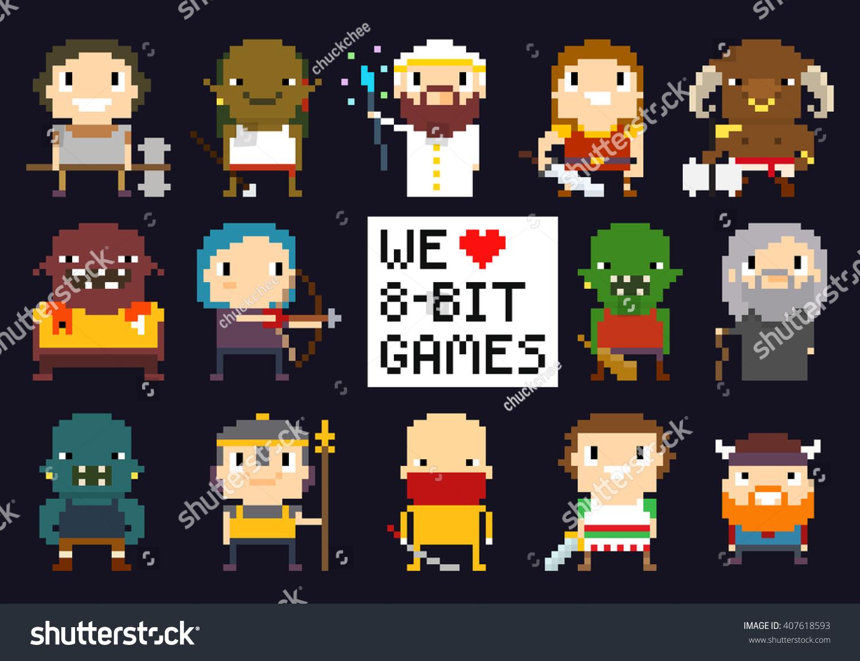 Pixel Art Characters 8bit Game Characters Stock Vector