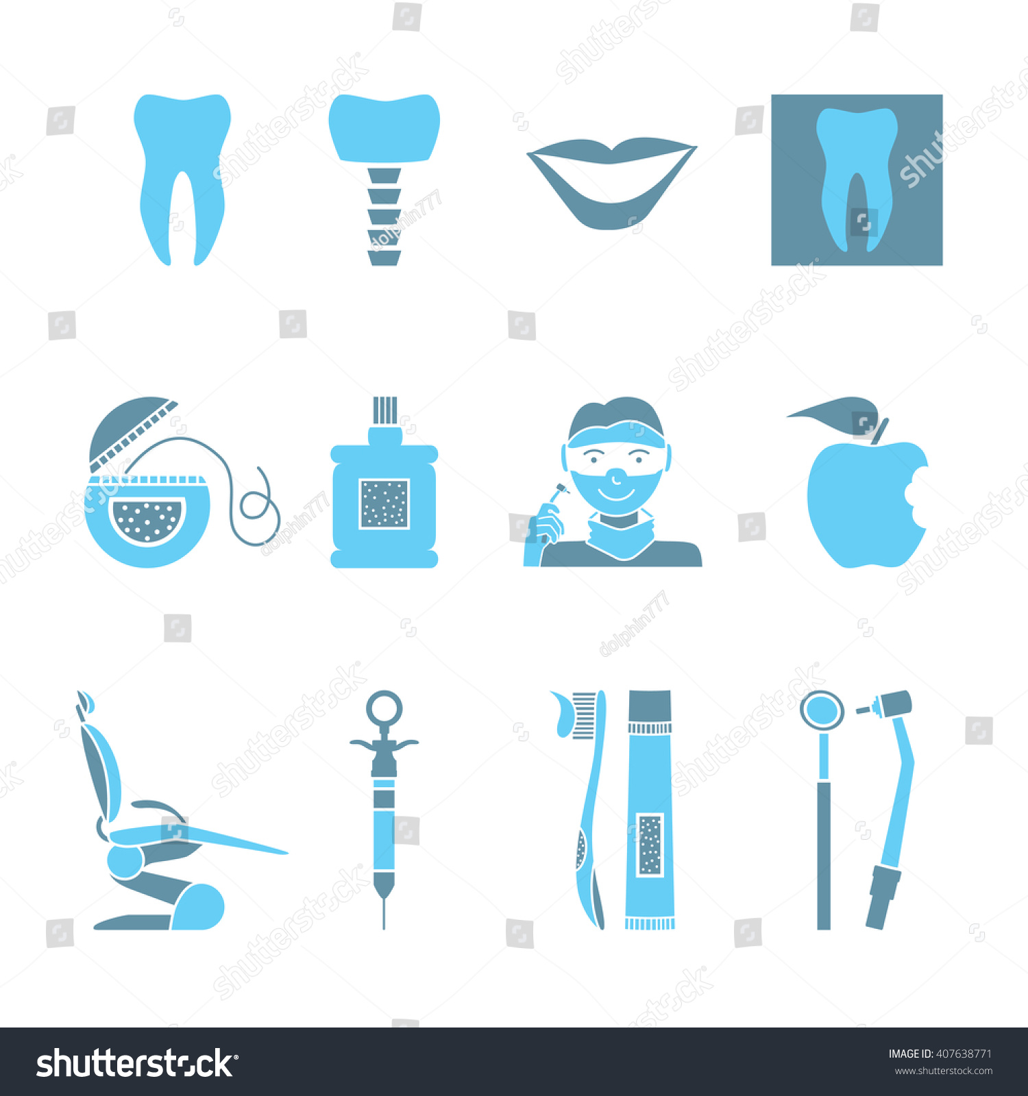Flat Line Colorful Icons Collection Of Dental Services Equipment And Products For Care