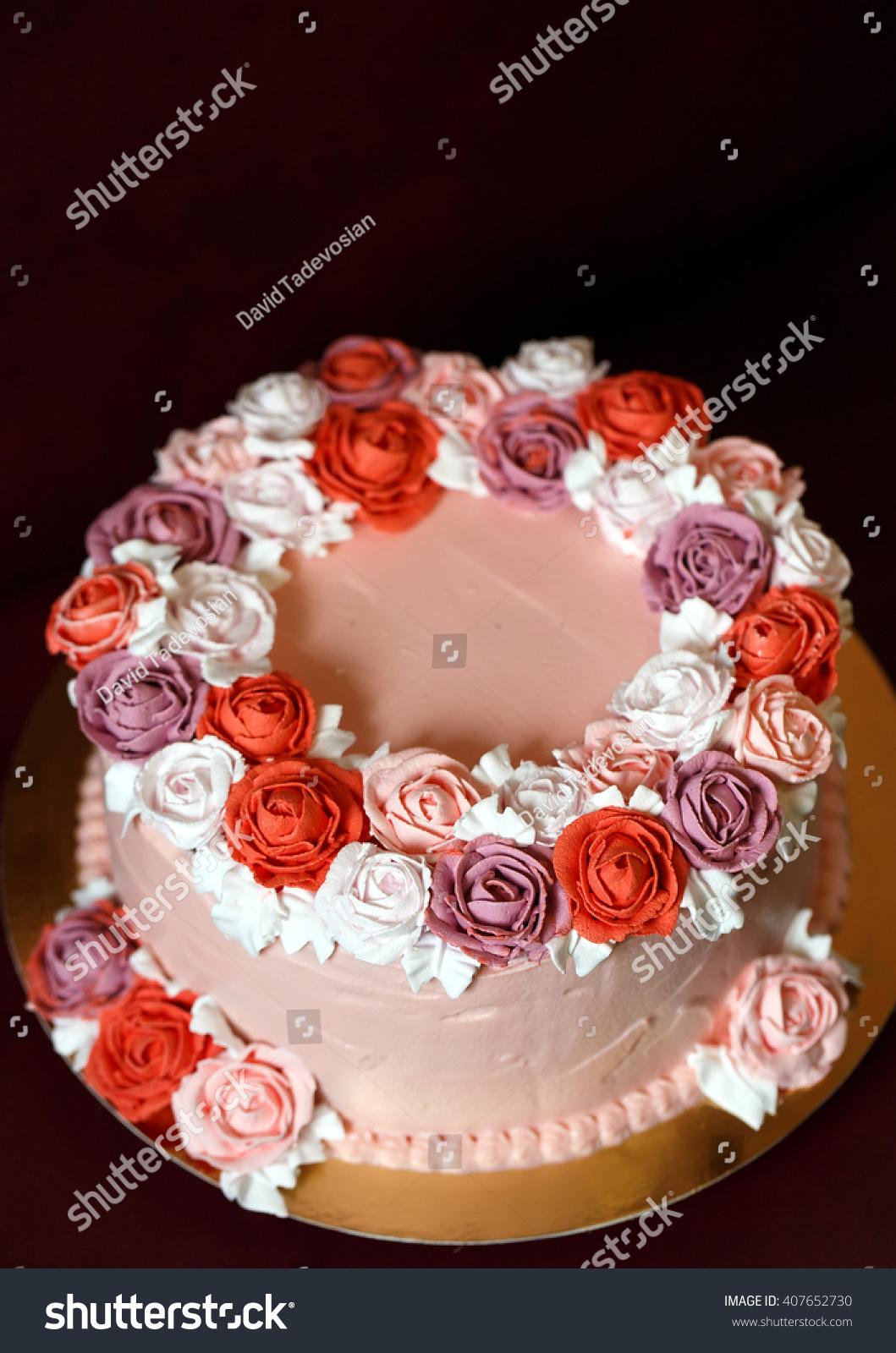 Birthday Cake Red Roses Stock Photo Edit Now 407652730 Shutterstock