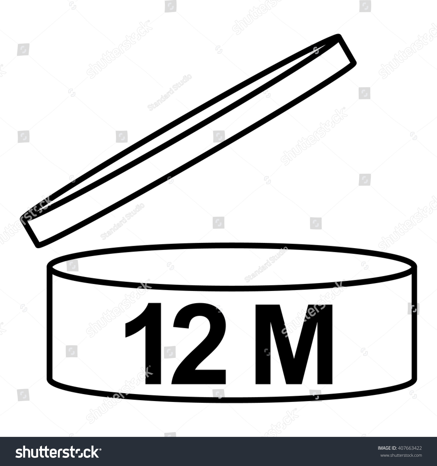 pao cosmetics symbol 12m period after stock vector 407663422 shutterstock. Black Bedroom Furniture Sets. Home Design Ideas