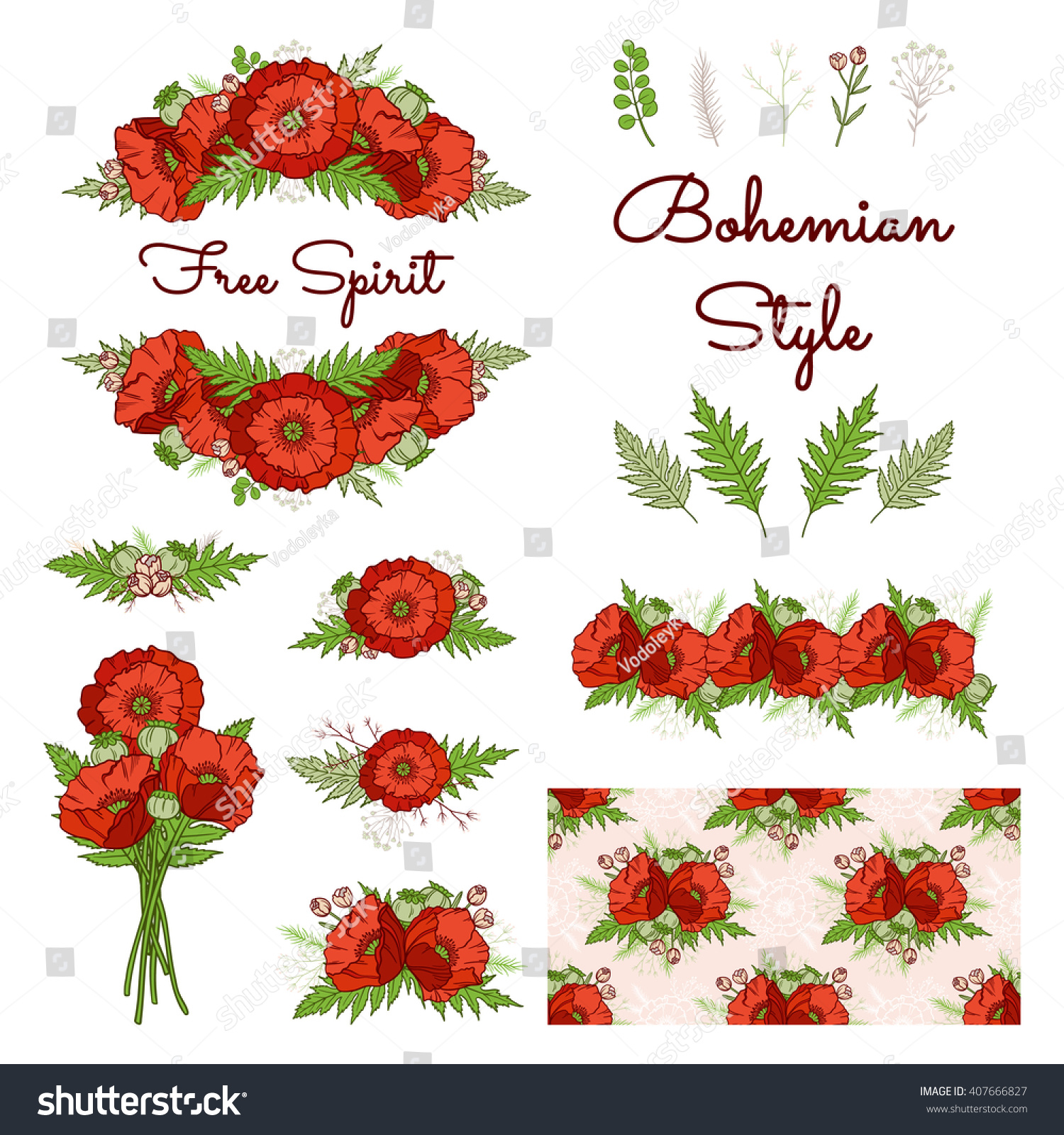 Bohemian Style Collection Set Boho Floral Stock Vector (Royalty Free ...