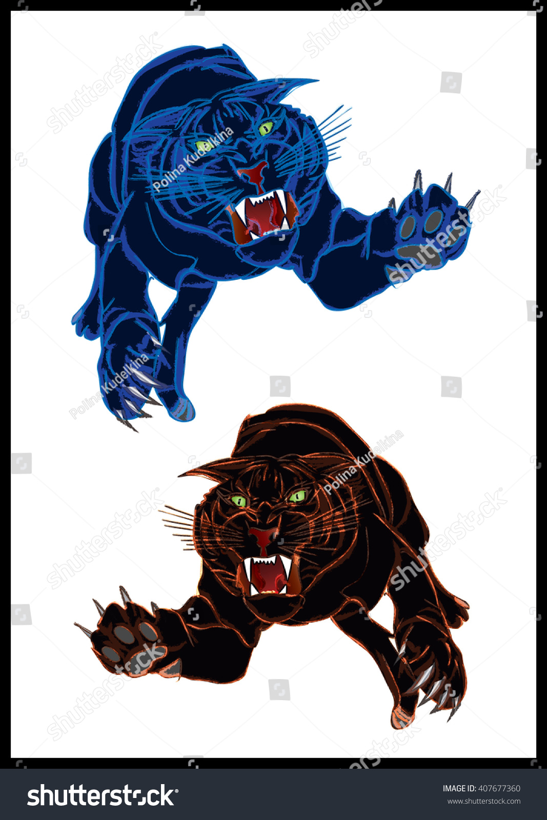 Color cats like - Psychedelic Predatory Cats More Like Black Tigers In Blue And Orange Color Isolated On