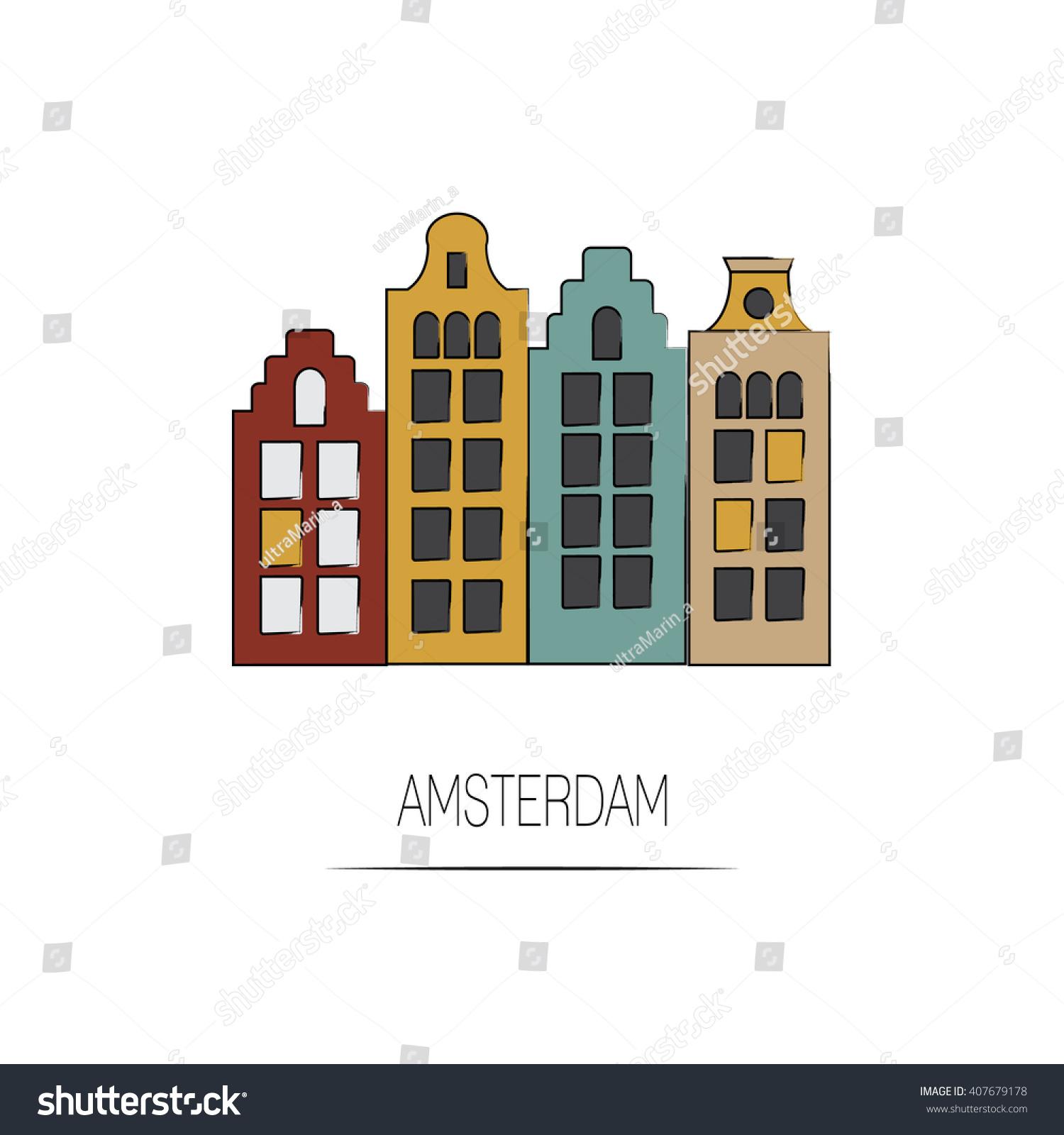 Vector Amsterdam Icon. City Line Illustration. Traditional