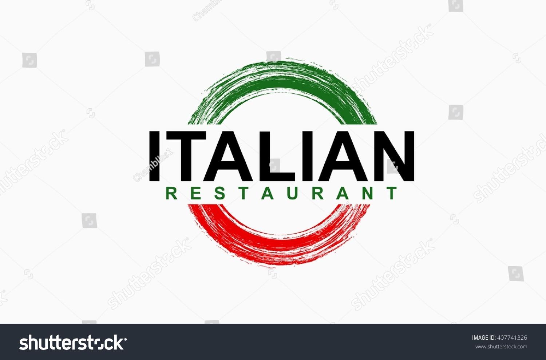 Italian Restaurant Logo With Flag: Italian Restaurant Logo Stock Vector 407741326