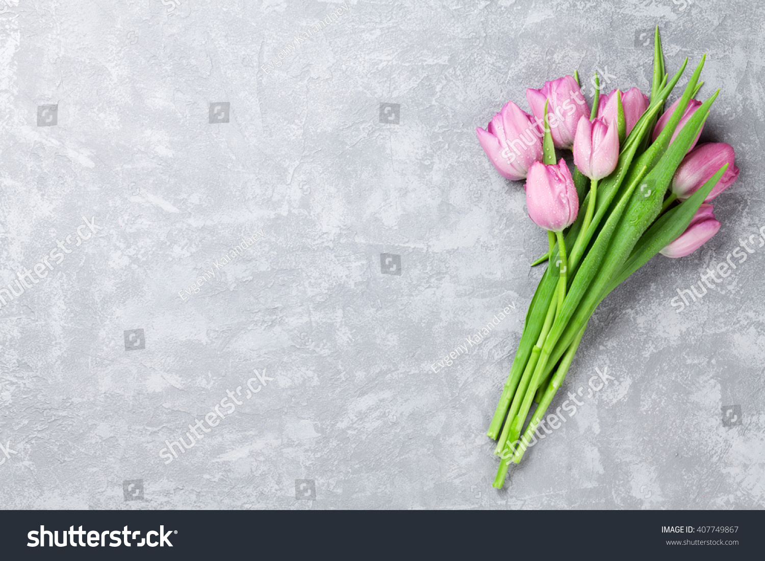 Fresh Pink Tulip Flowers On Stone Stock Photo Edit Now 407749867