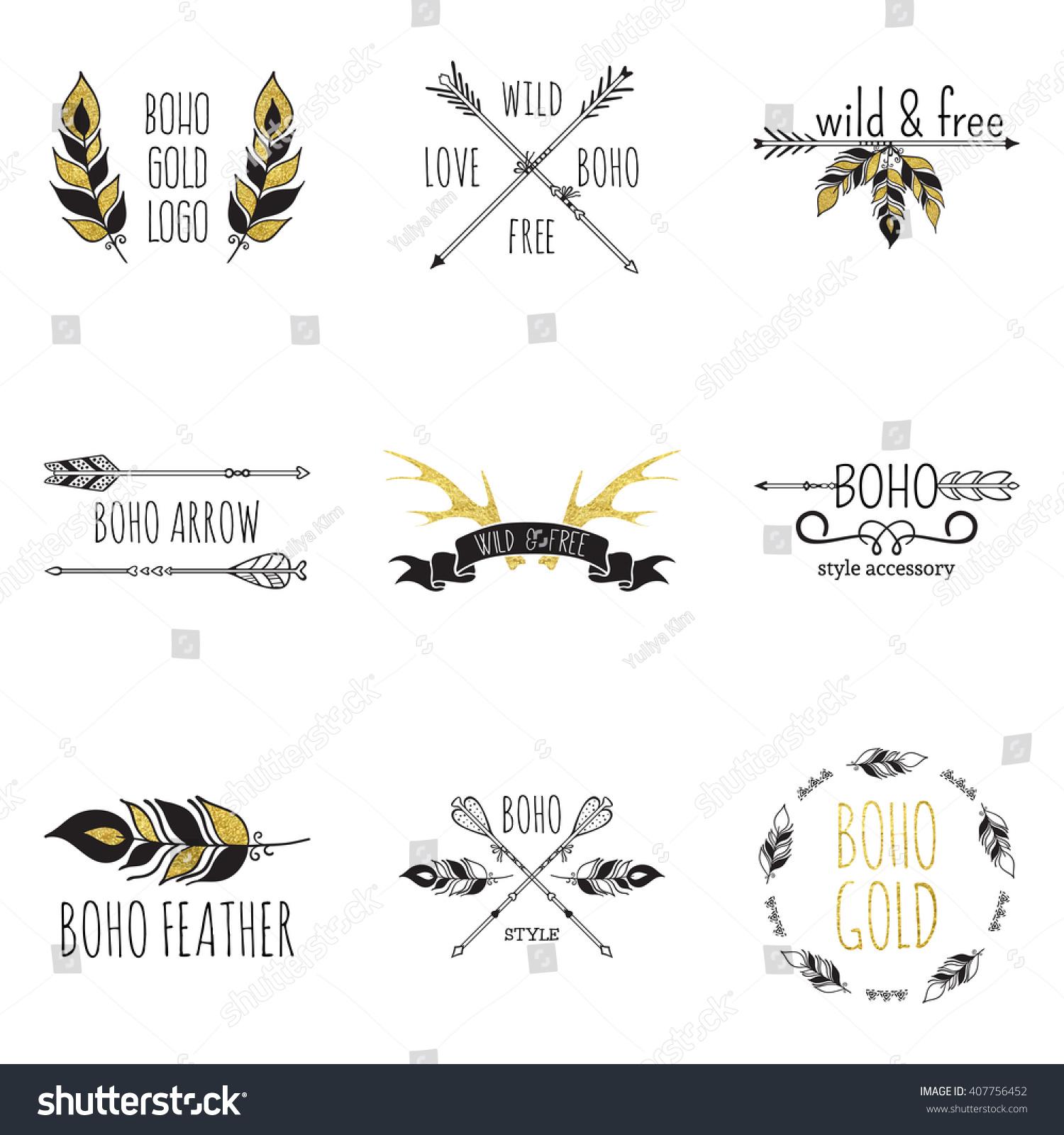 Vector Illustration Boho Logo Collection Bohemian Stock ...