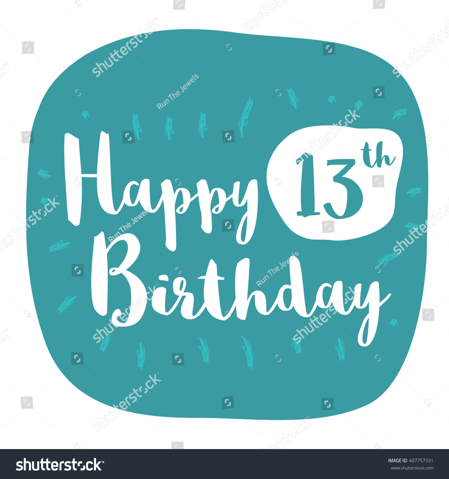 Happy 13th birthday card brush lettering stock vector 407757331 happy 13th birthday card brush lettering vector design bookmarktalkfo Image collections