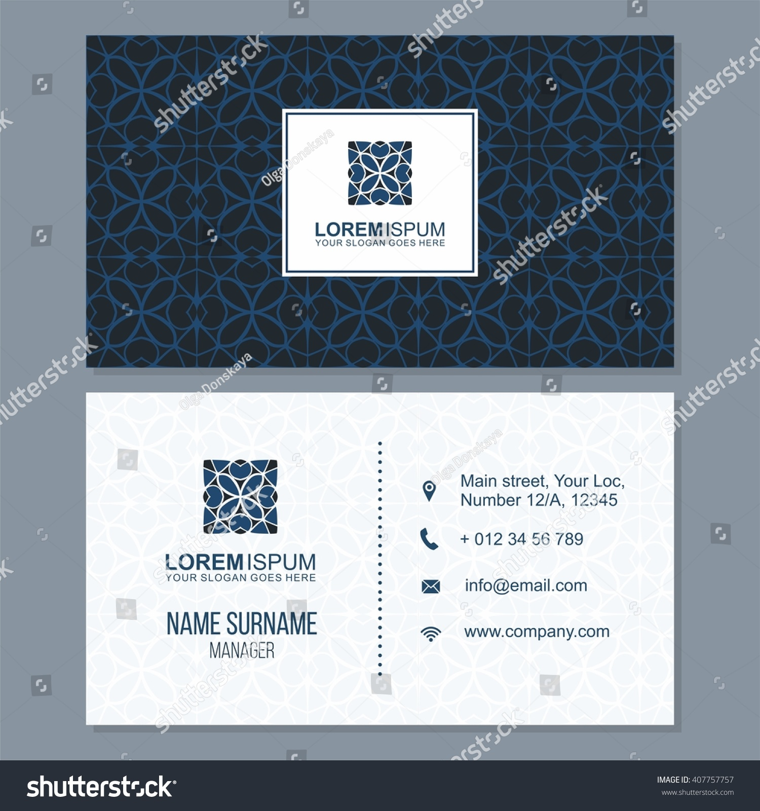 Visiting Card Business Card Set Abstract Stock Vector (2018 ...
