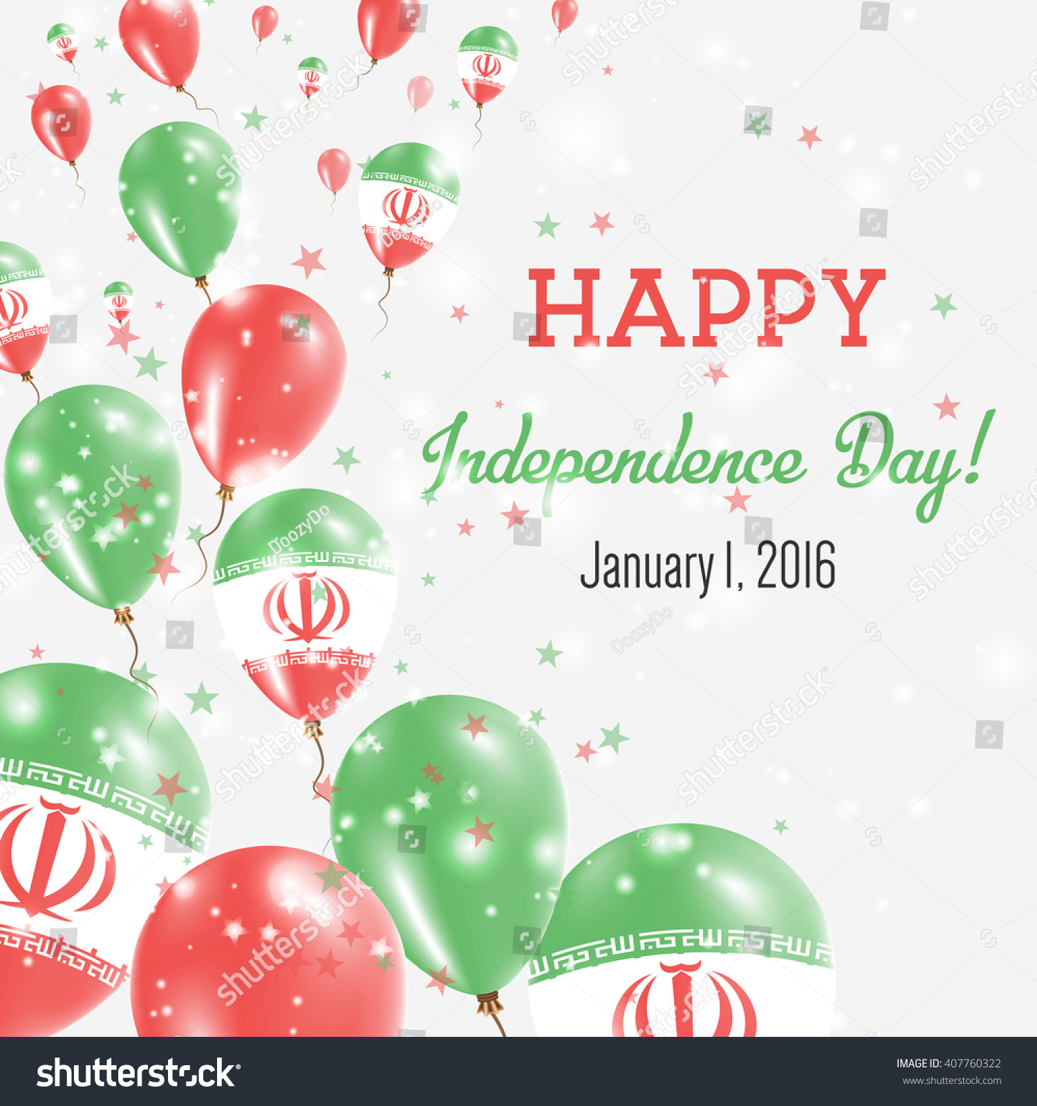 Iran Islamic Republic Independence Day Greeting Stock Vector ...