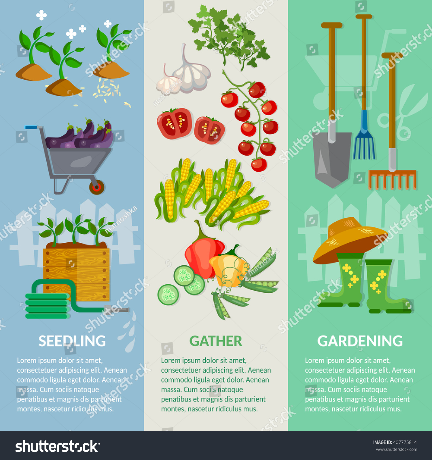 Vegetable garden graphic - Garden Banner Garden Tools Working In The Garden Vegetable Growing Vector Illustration