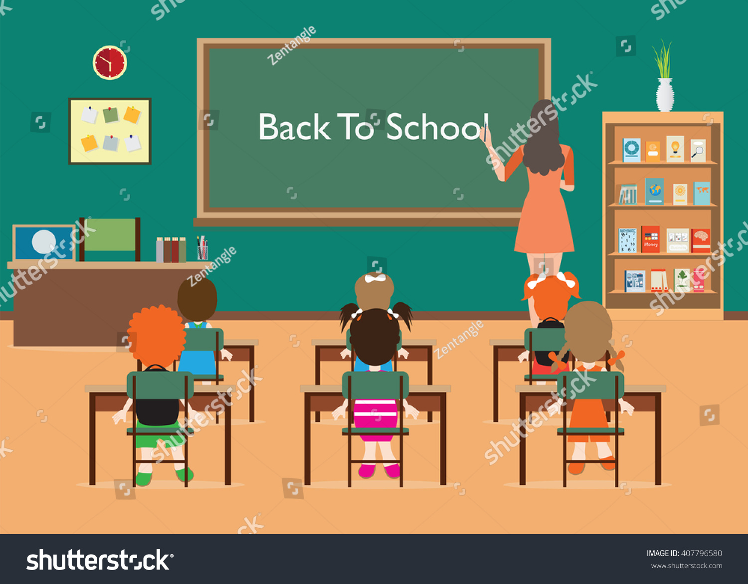 Back To School Classroom Interior With Little Students And Teacher Green Blackboard Table
