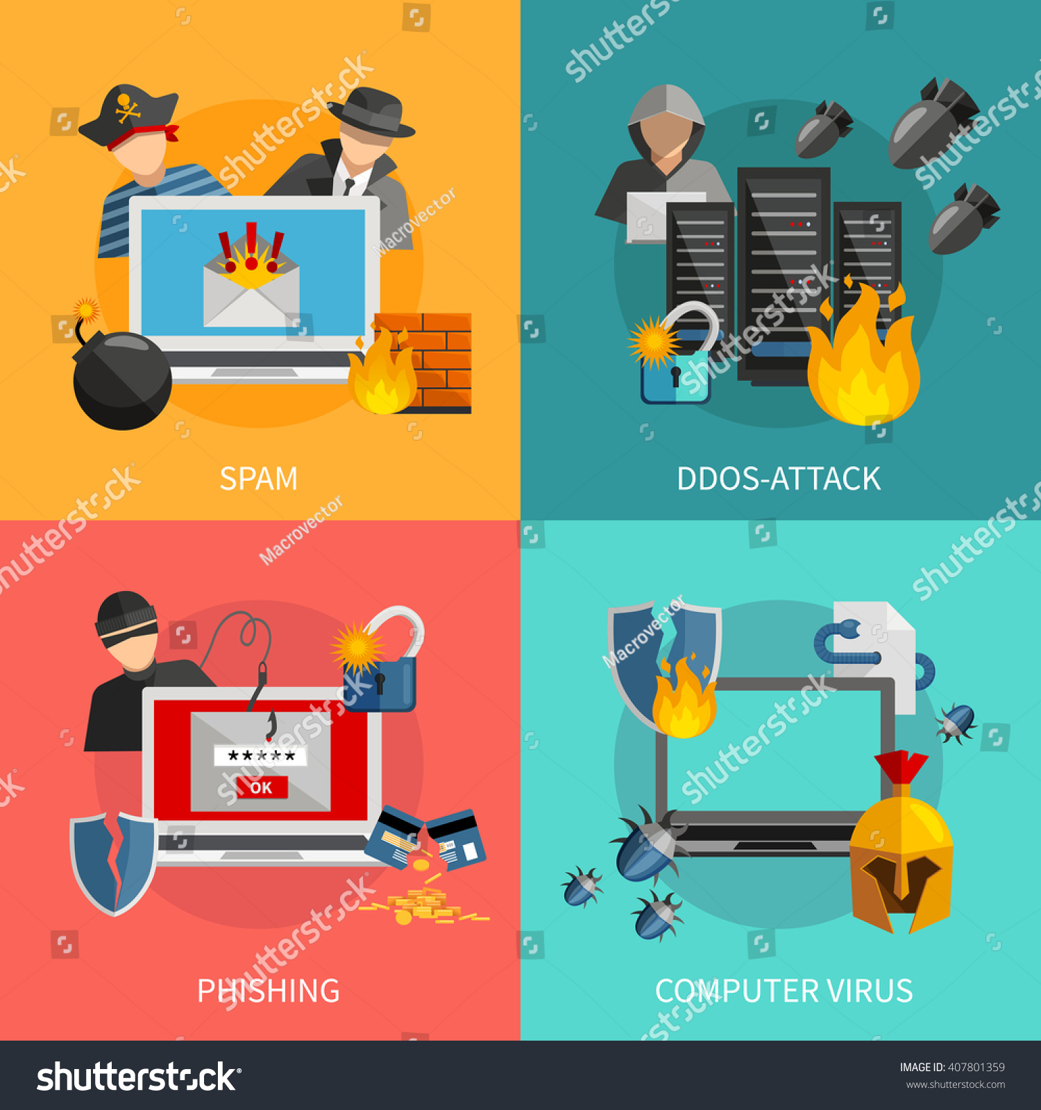 Hacker 2x2 flat design concept spam stock vector 407801359 for Design attack