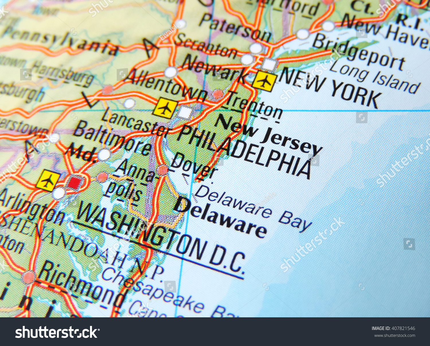 Map East Coast USA Focus On Stockfoto (Jetzt bearbeiten) 407821546 ...