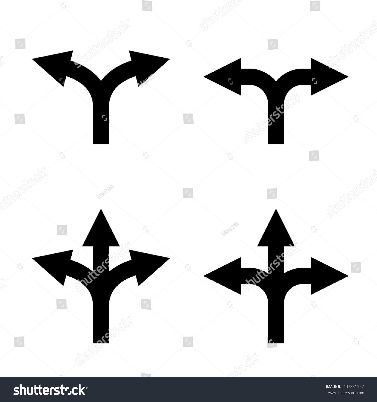 Direction Arrow Sign Set Uncertainty Choice Stock Vector 407831152