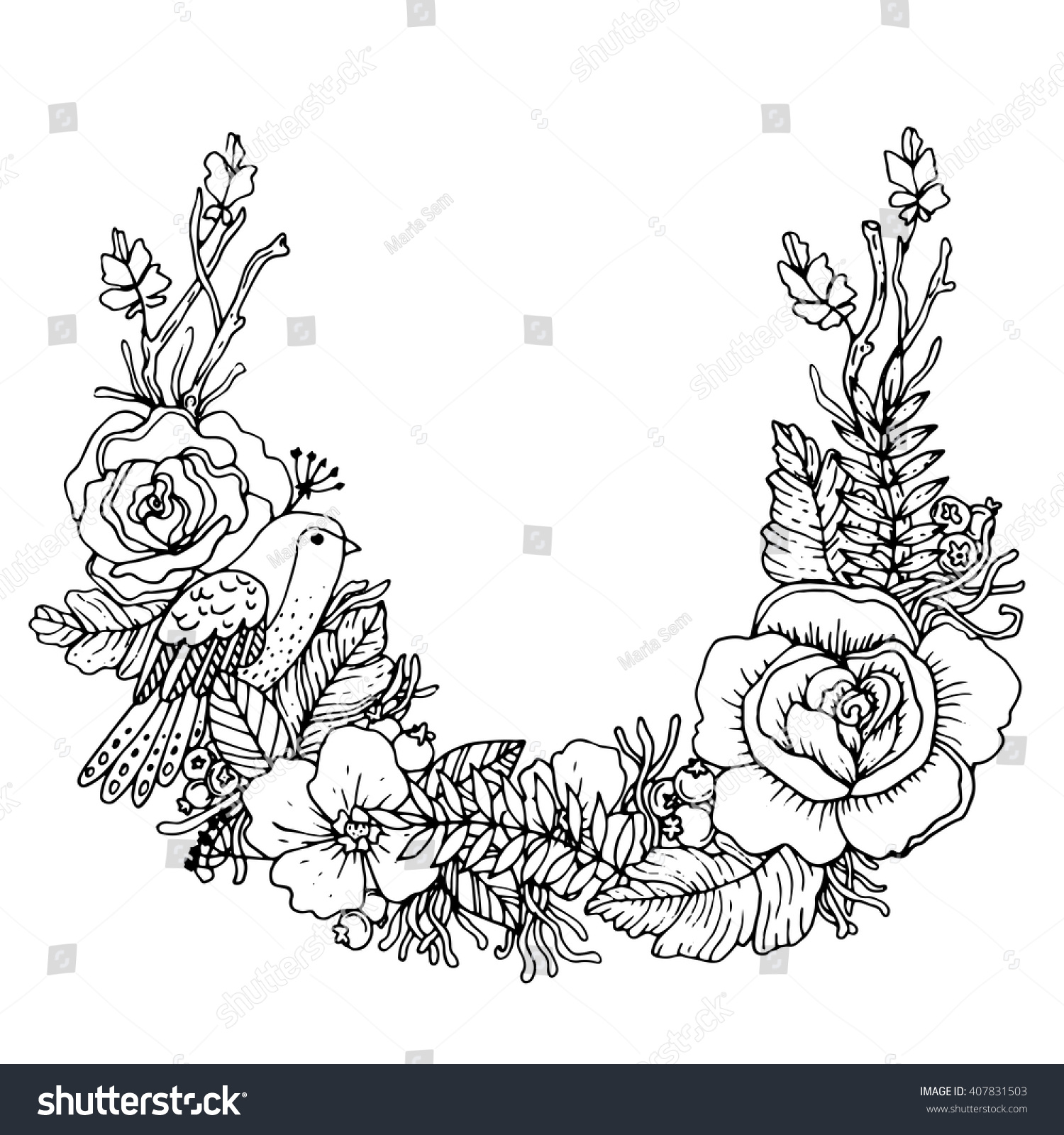 Botanical art coloring book - Beautiful Botanical Wreath With Bird And Flowers Perfect For Invitations Cards Posters Or