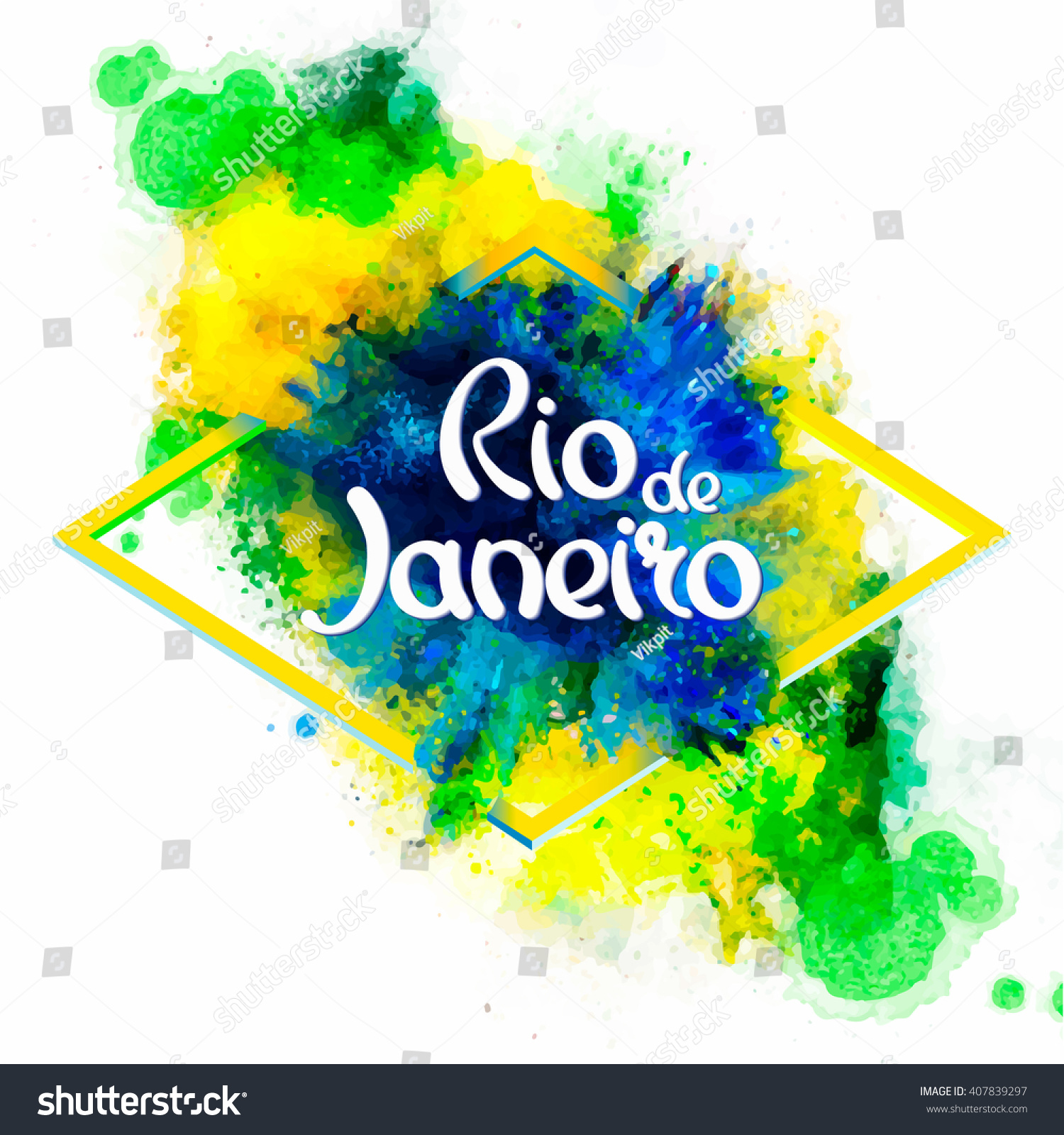 Handmade watercolor brazil flag brasil stock photos freeimages com - Inscription Rio De Janeiro Brazil Vacation On A Background Watercolor Stains Colors Of The Brazilian