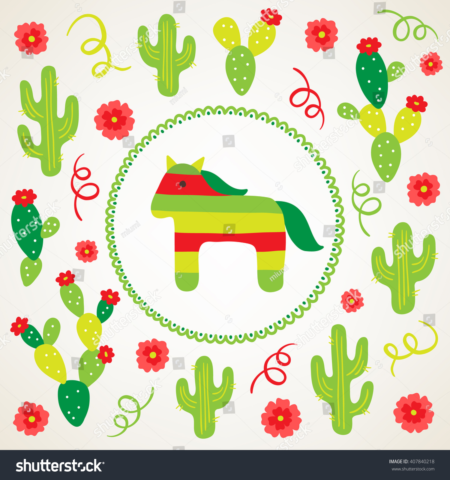 Cinco de mayo fifth may greeting stock vector 407840218 shutterstock cinco de mayo fifth of may greeting card with cactus pinata flowers kristyandbryce Gallery