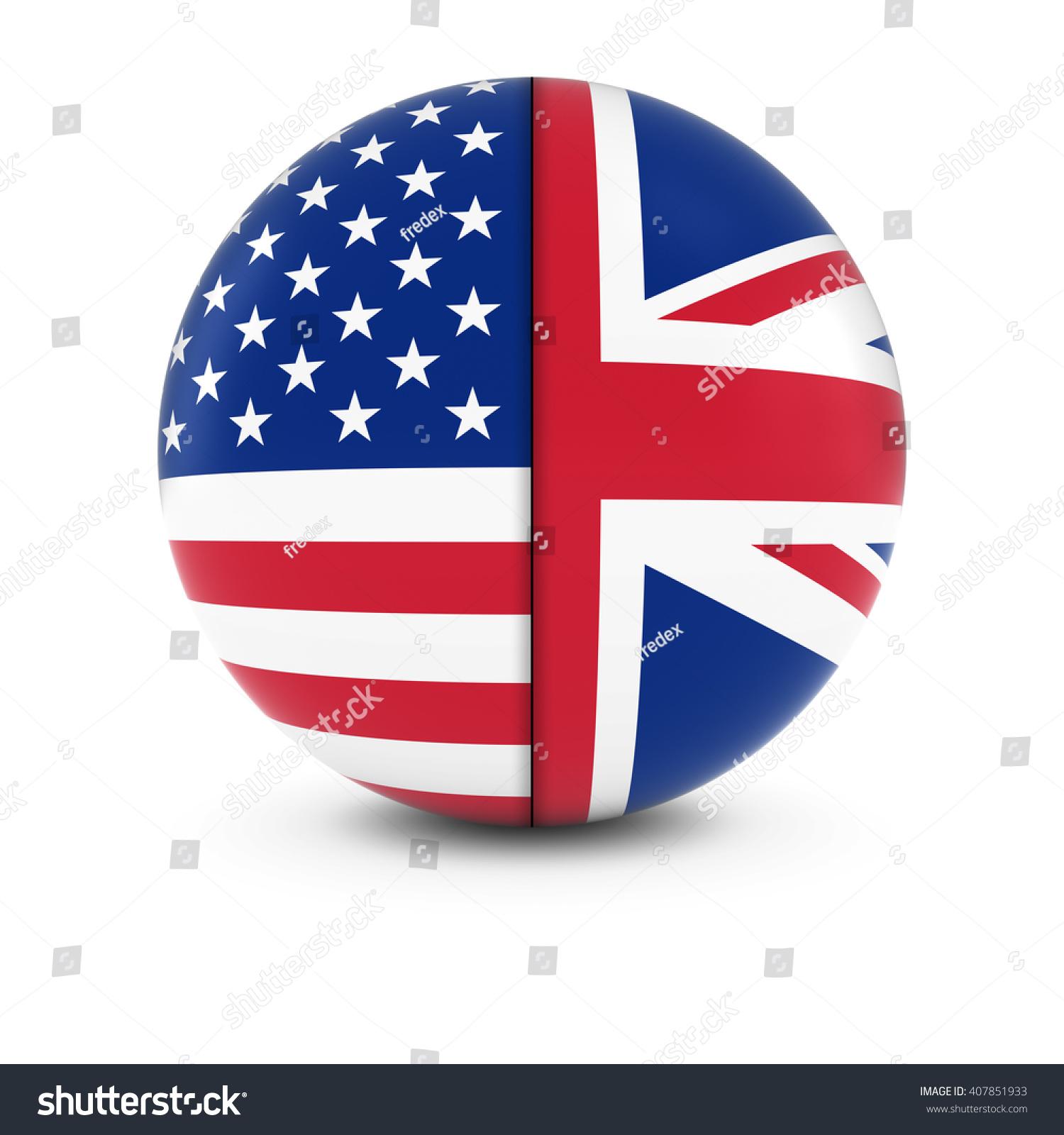3d american british flag ball split stock illustration 407851933