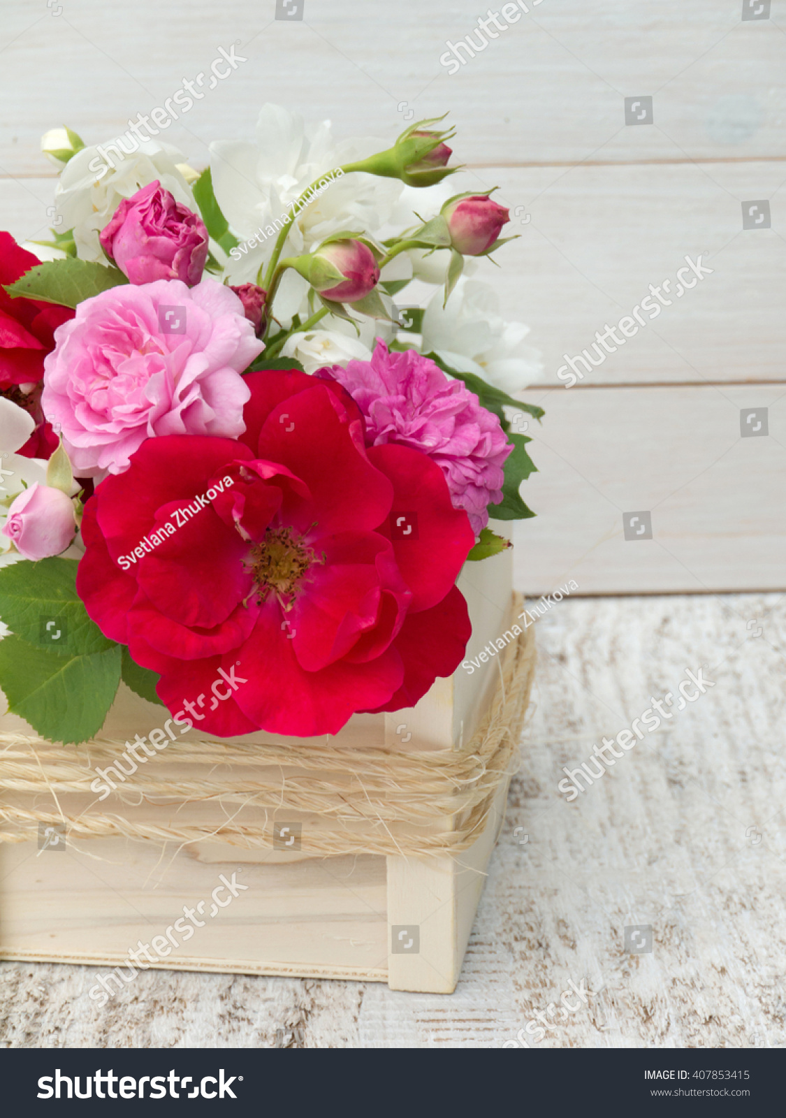Red Pink Roses English Dogwood Bouquet Stock Photo Edit Now