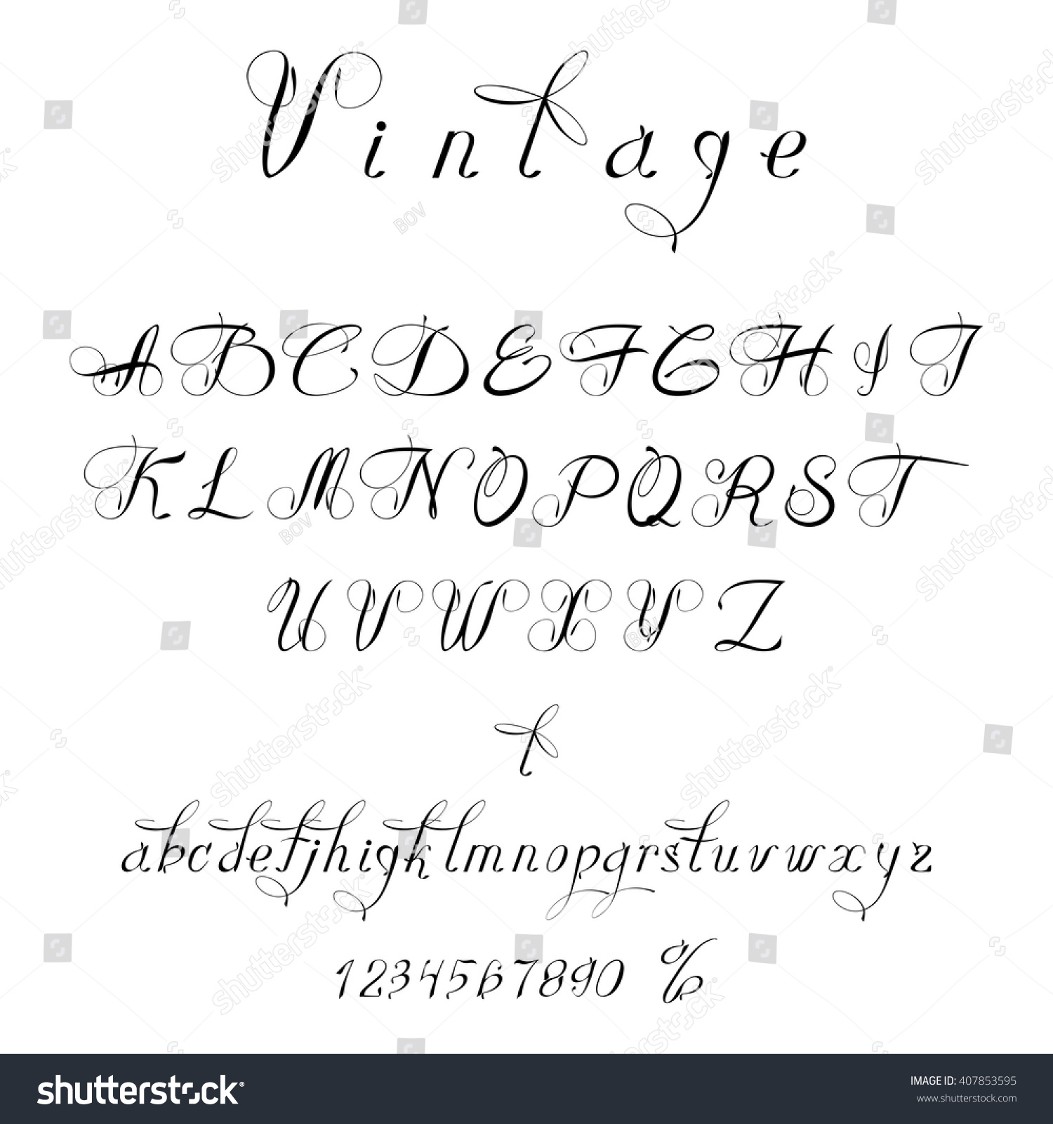Script Font Vintage Style Font Can Stock Vector 407853595 ...