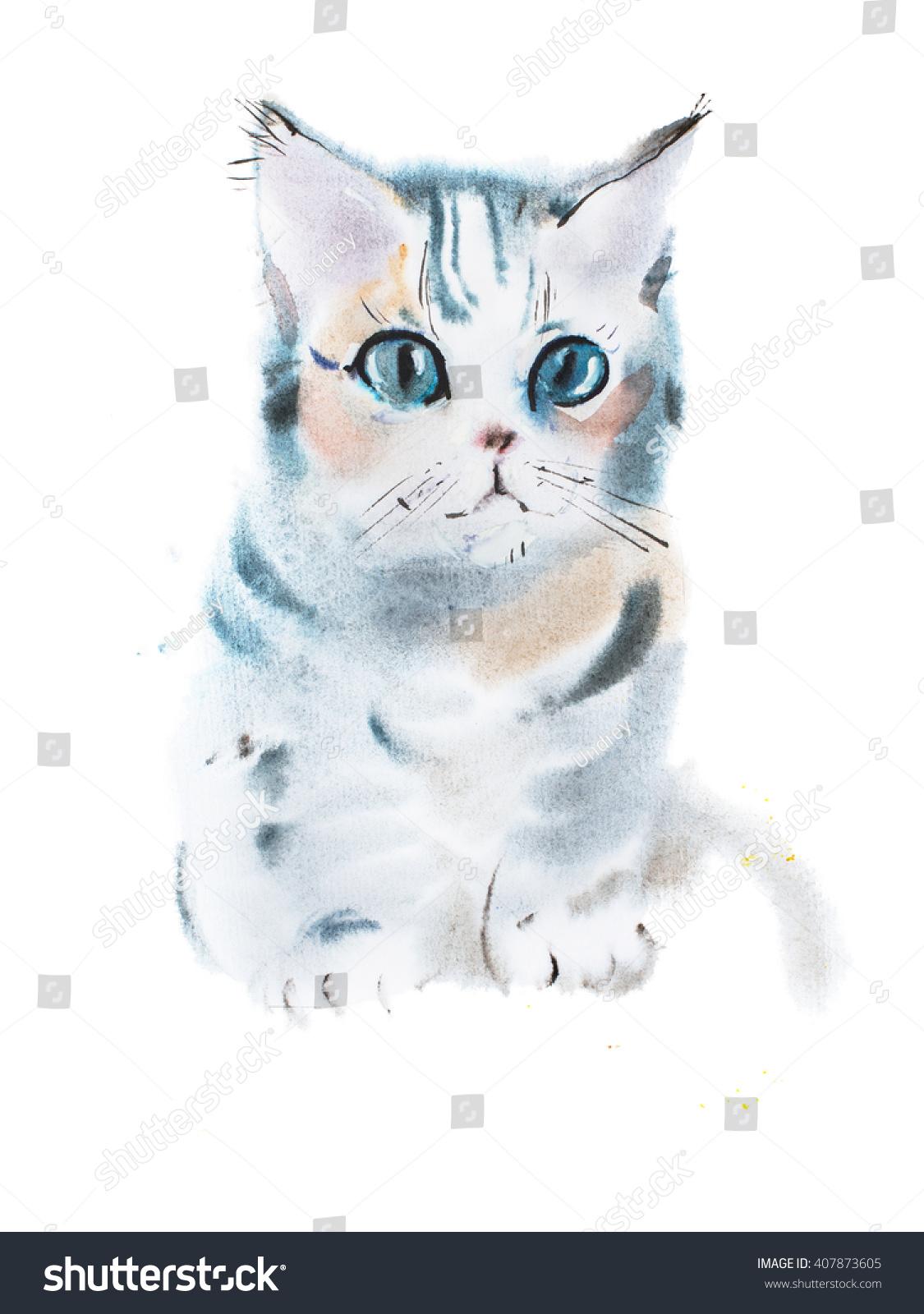 Hand drawn watercolor painting cute gray stock for Cute watercolor paintings