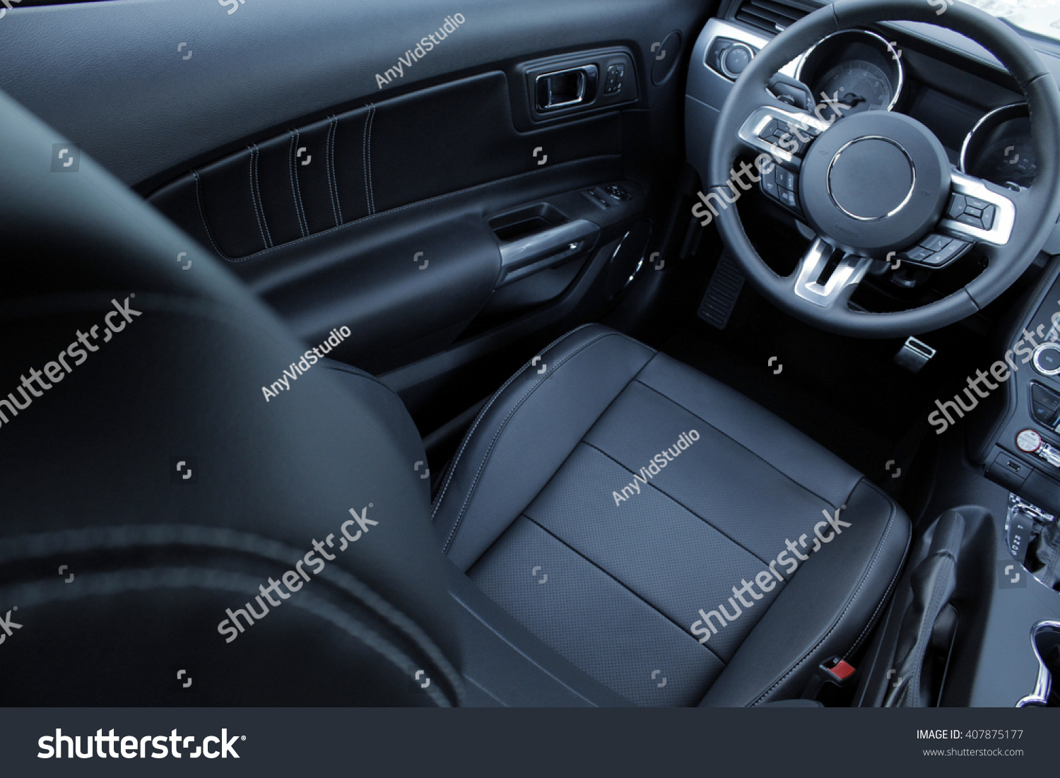 leather upholstery inside car interior stock photo 407875177 shutterstock. Black Bedroom Furniture Sets. Home Design Ideas