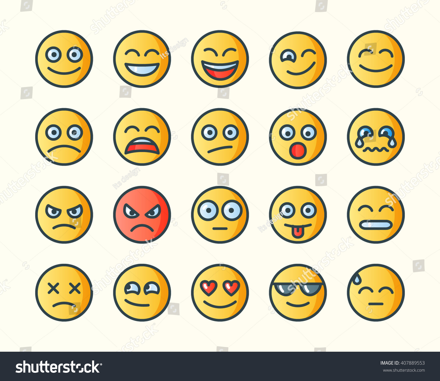 Line Drawing Emoji : Set smiley icons emoji flat line stock vector