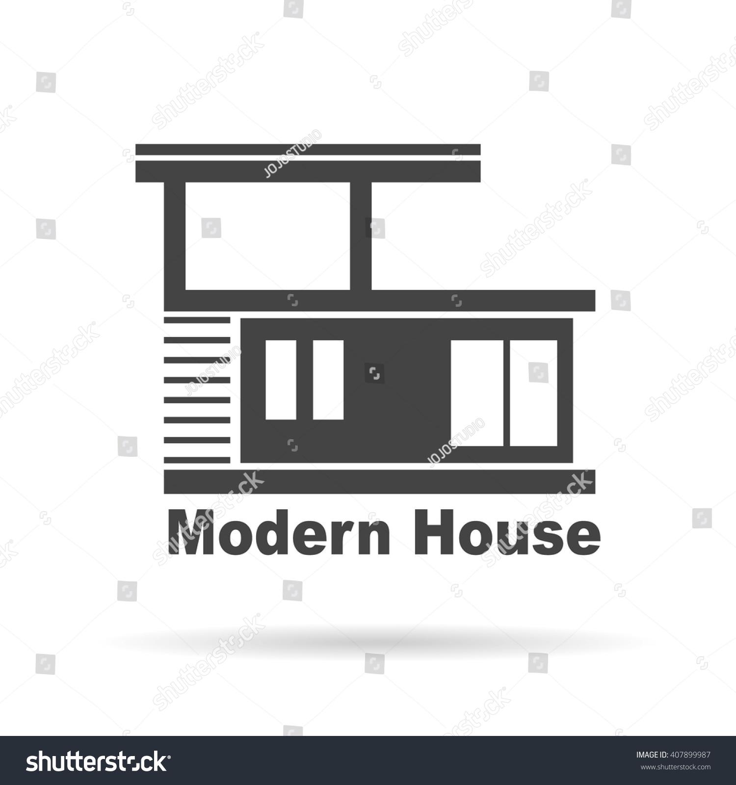 Modern house real estate logo design stock vector for Modern house real estate