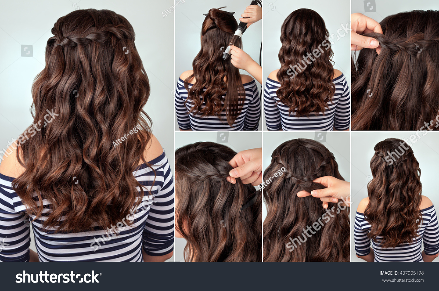 Tutorial Photo Braided Hairstyle Long Curly Stock Photo Edit Now 407905198
