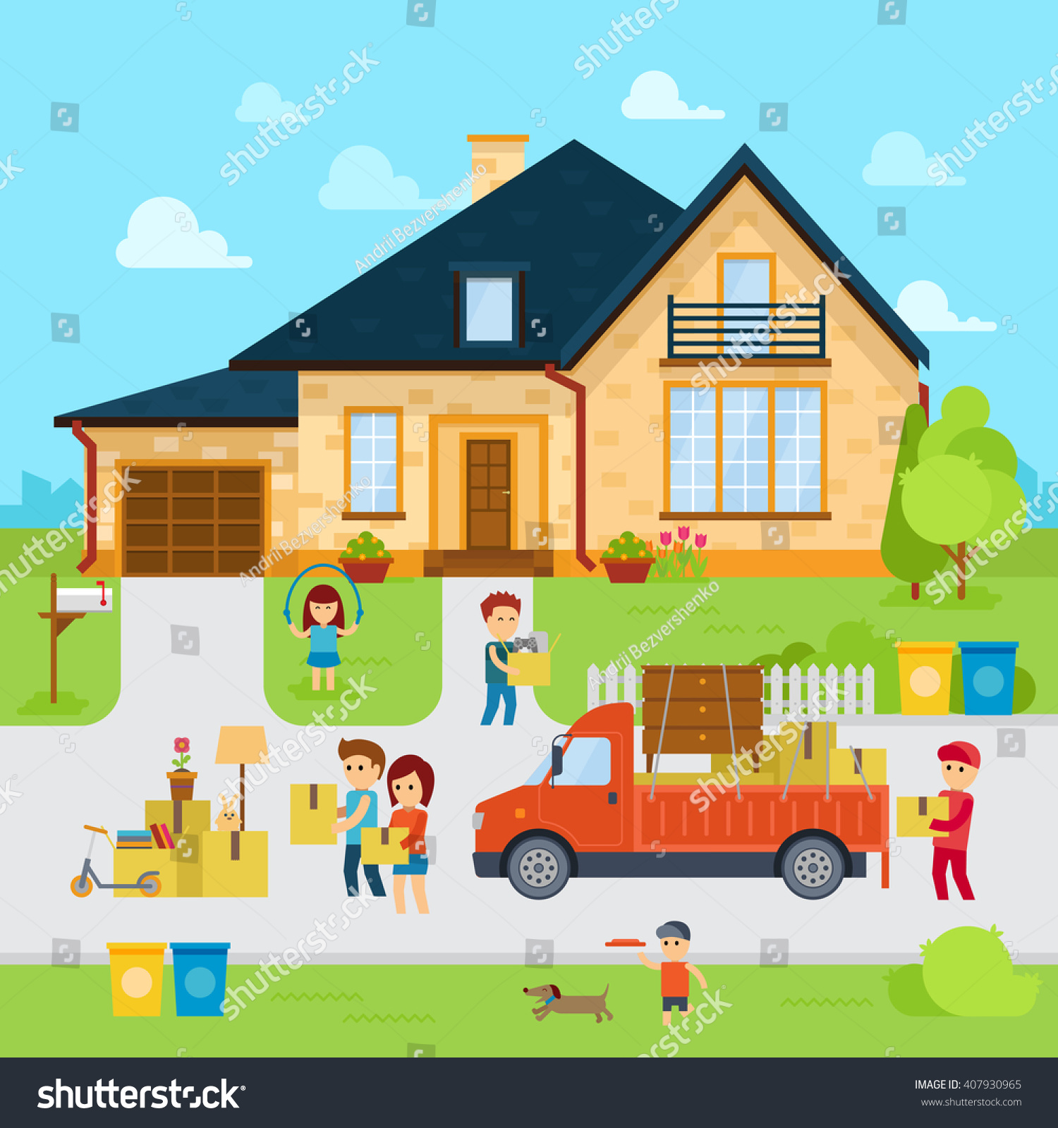 People moving new home flat designmoved stock vector for Moving to new house